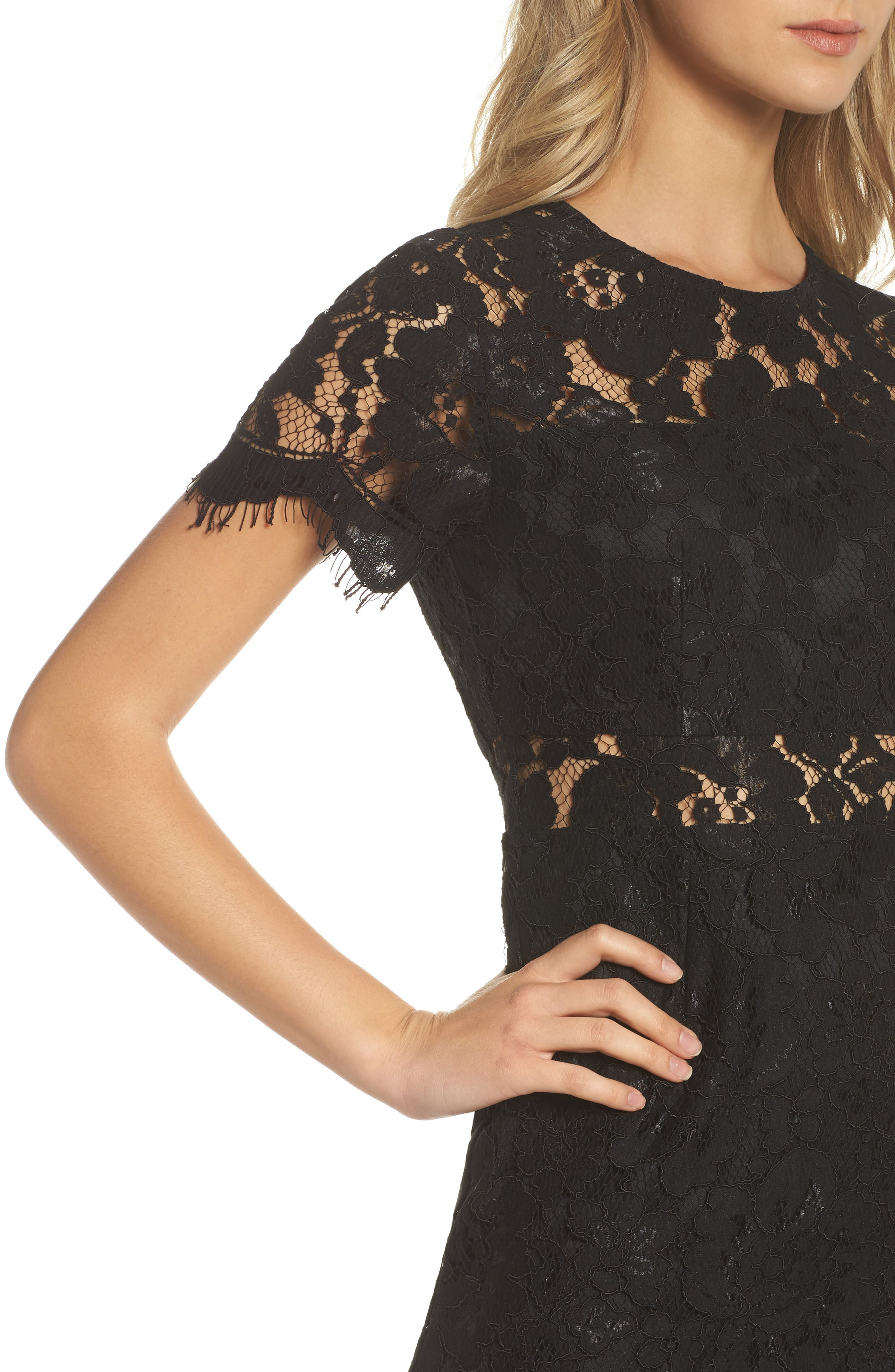 Lace Midi Dress,                             Alternate thumbnail 4, color,                             Black