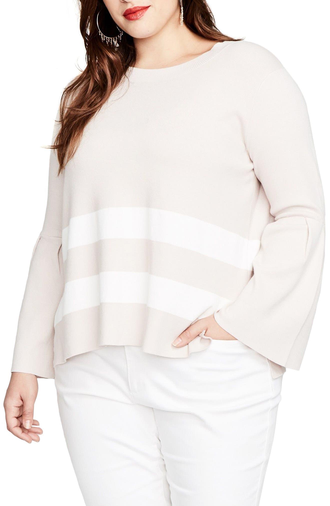 Main Image - RACHEL Rachel Roy Bow Back Stripe Top (Plus Size)