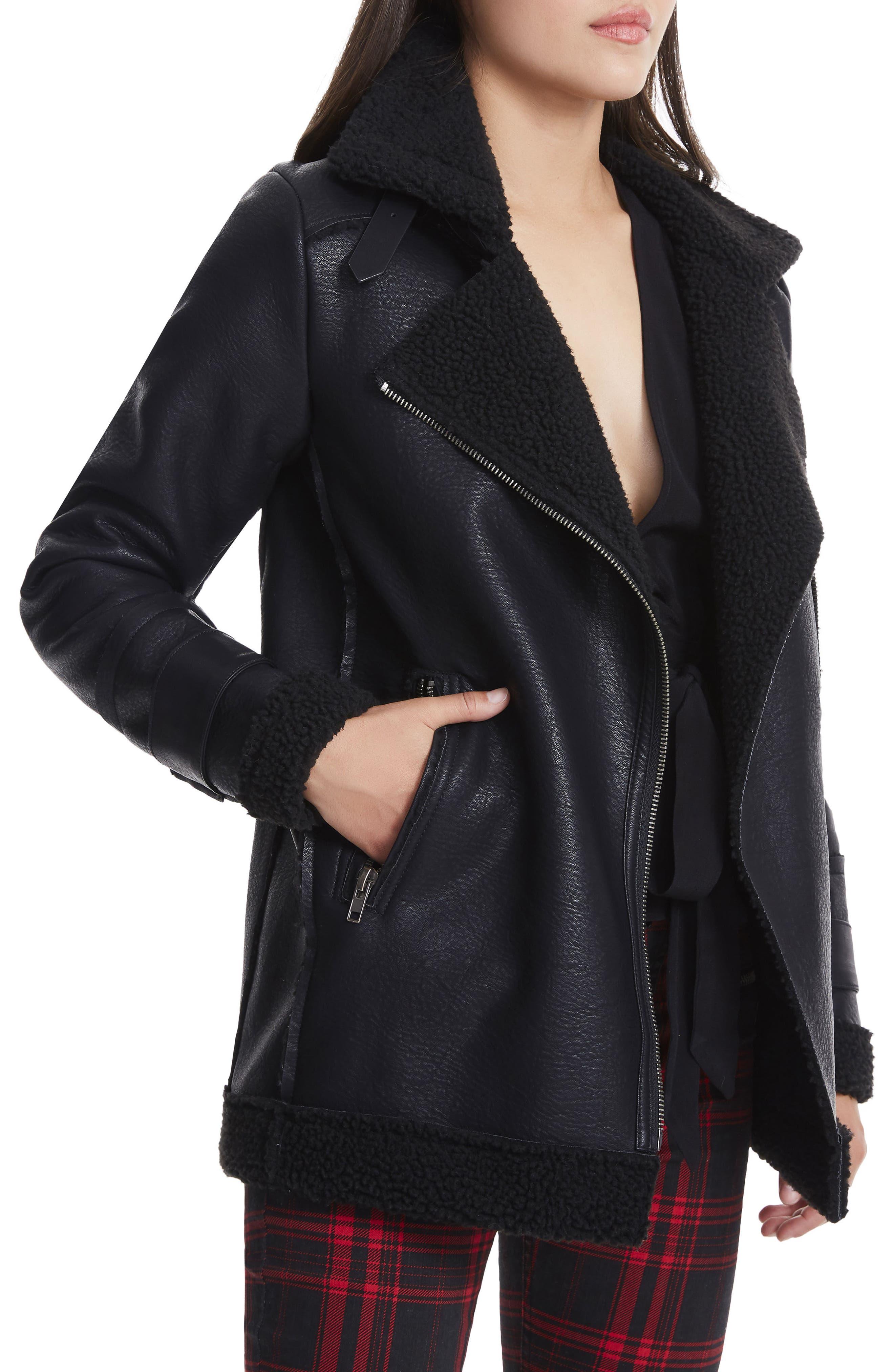 Opelia Oversize Faux Shearling Jacket,                             Alternate thumbnail 4, color,                             Noir