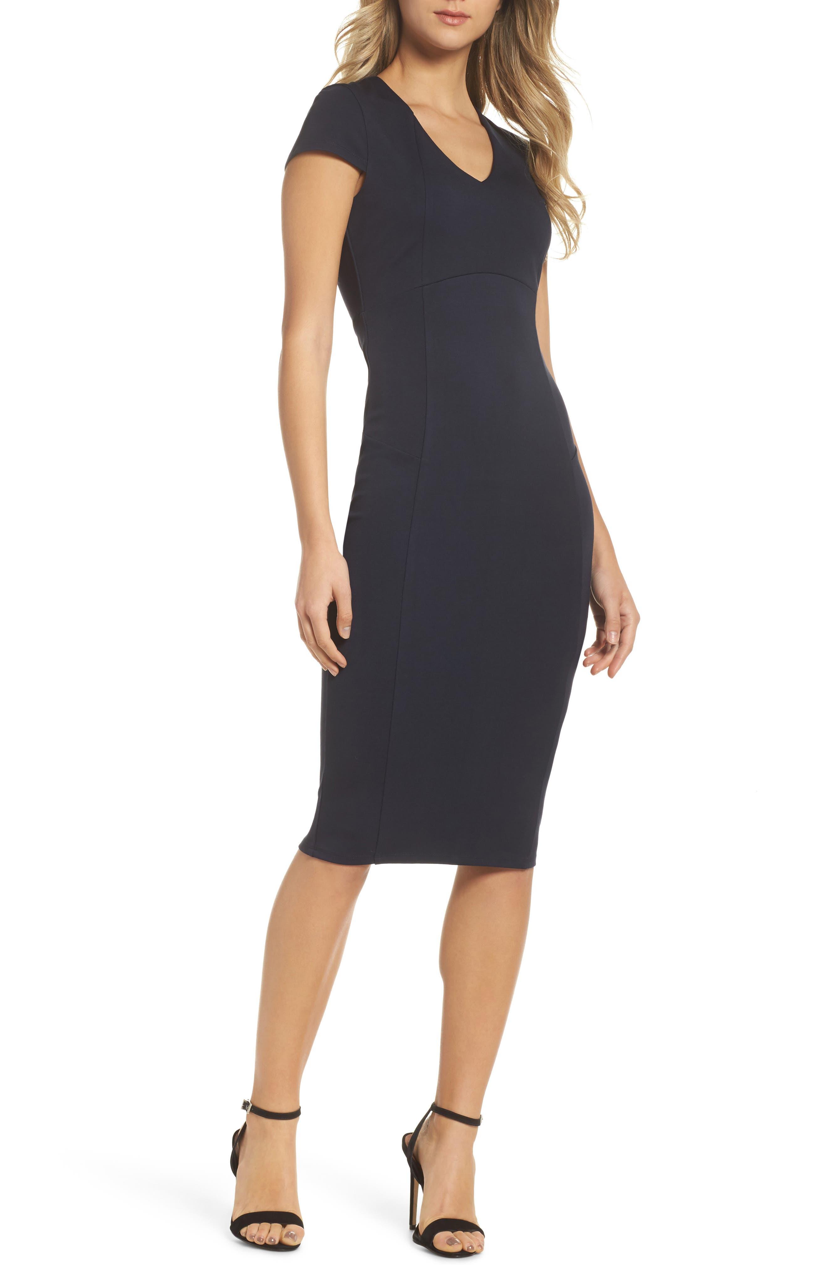 Nikki Body-Con Dress,                             Main thumbnail 1, color,                             Navy