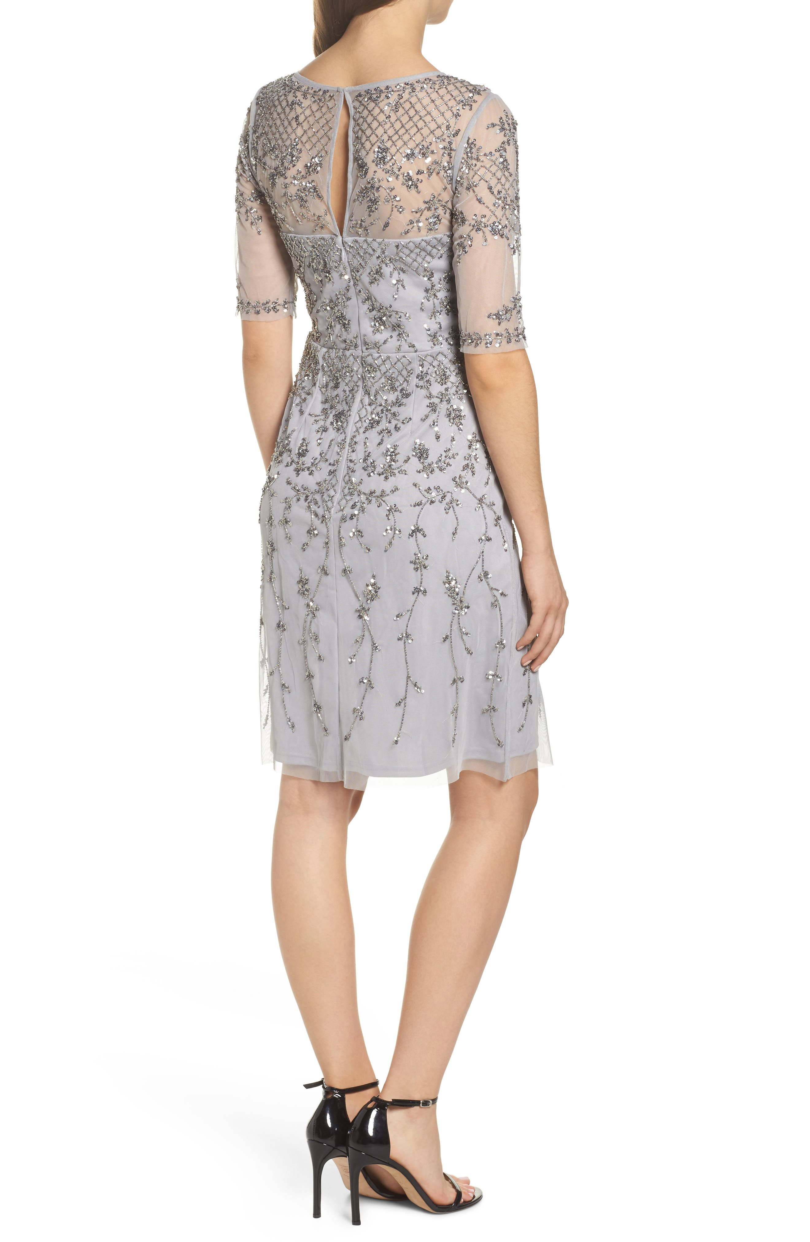 Embellished Fit & Flare Dress,                             Alternate thumbnail 2, color,                             Bridal Silver