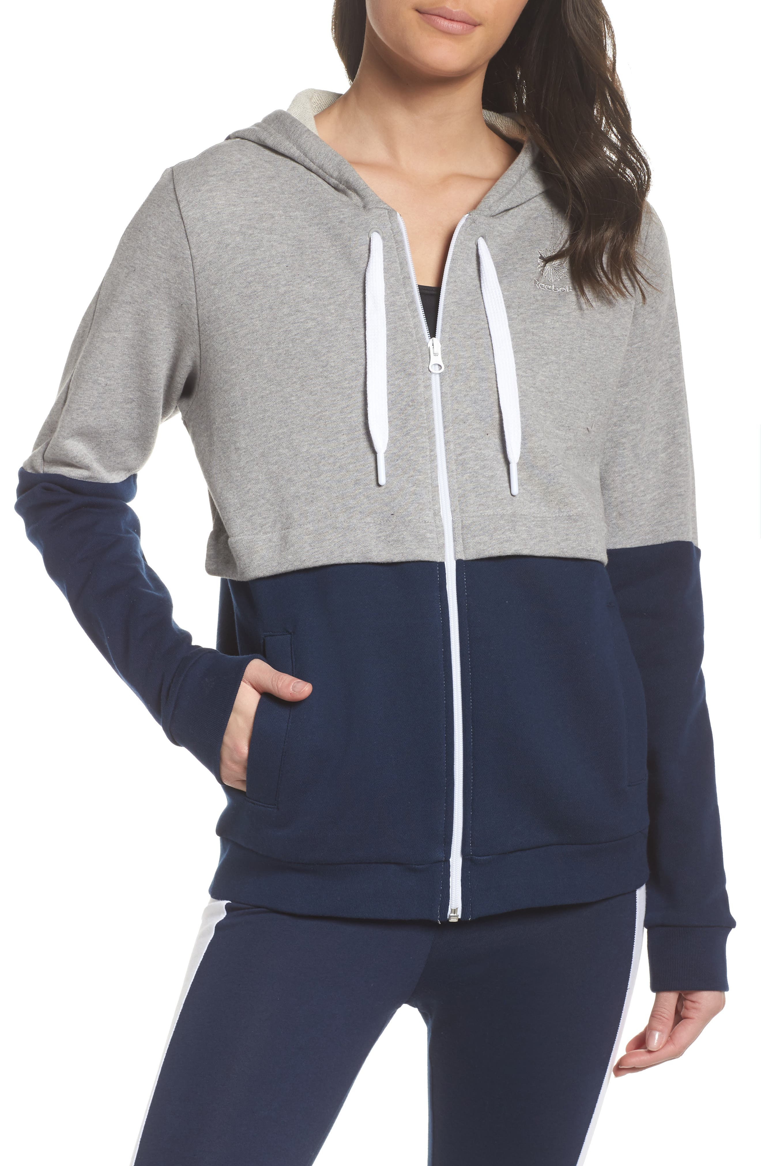 Classics French Terry Zip Hoodie,                             Main thumbnail 1, color,                             Medium Grey Heather
