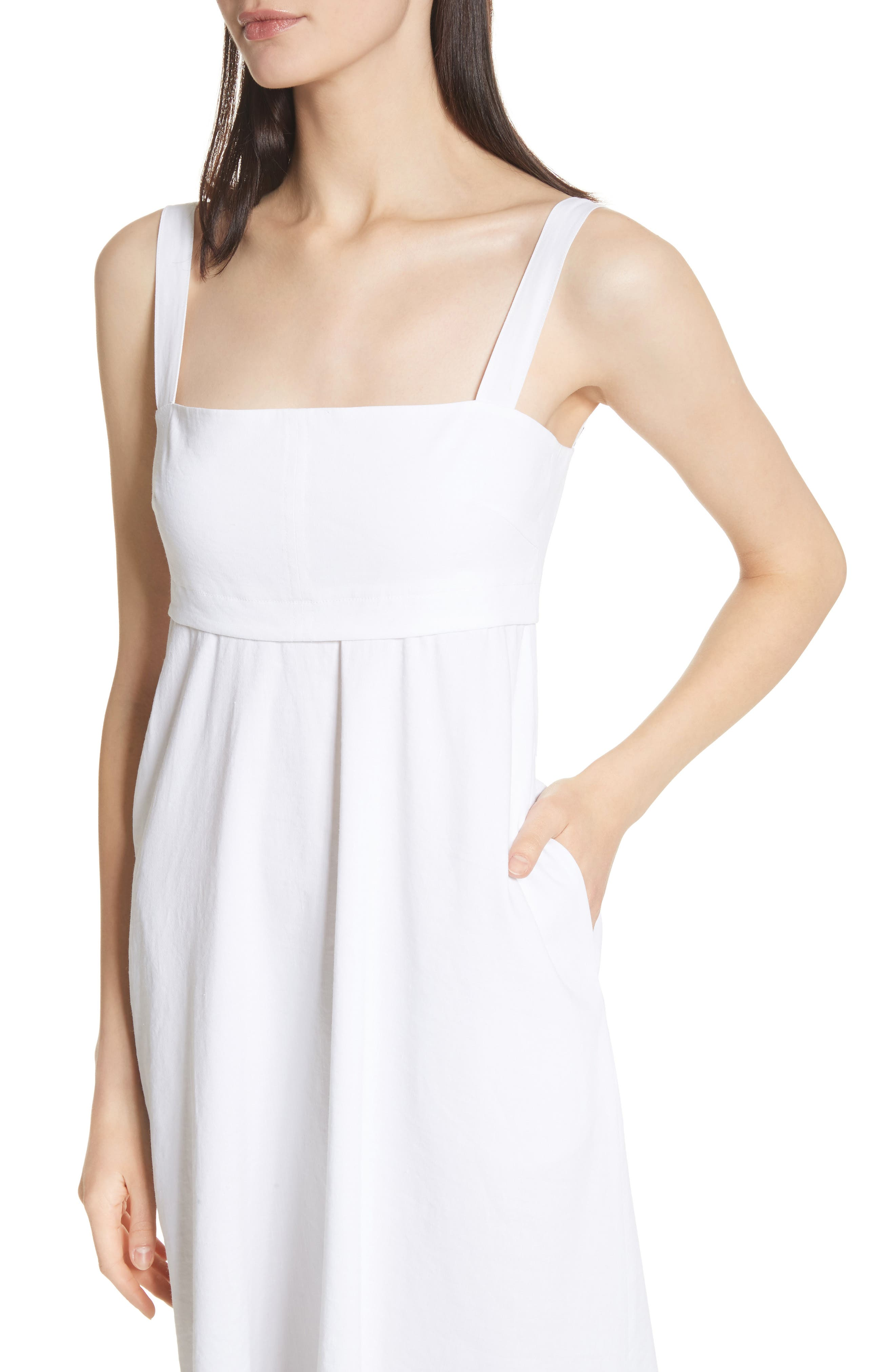 Empire Waist Midi Dress,                             Alternate thumbnail 4, color,                             White