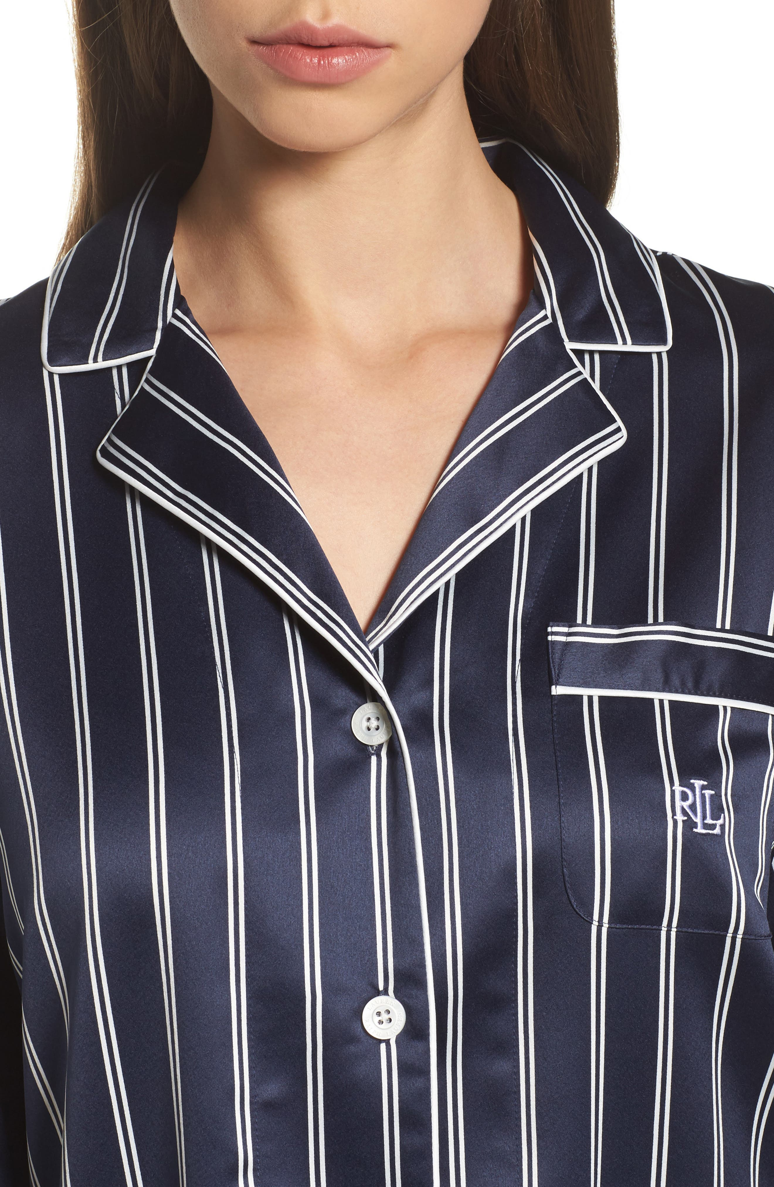 Satin Pajamas,                             Alternate thumbnail 4, color,                             Navy Stripe