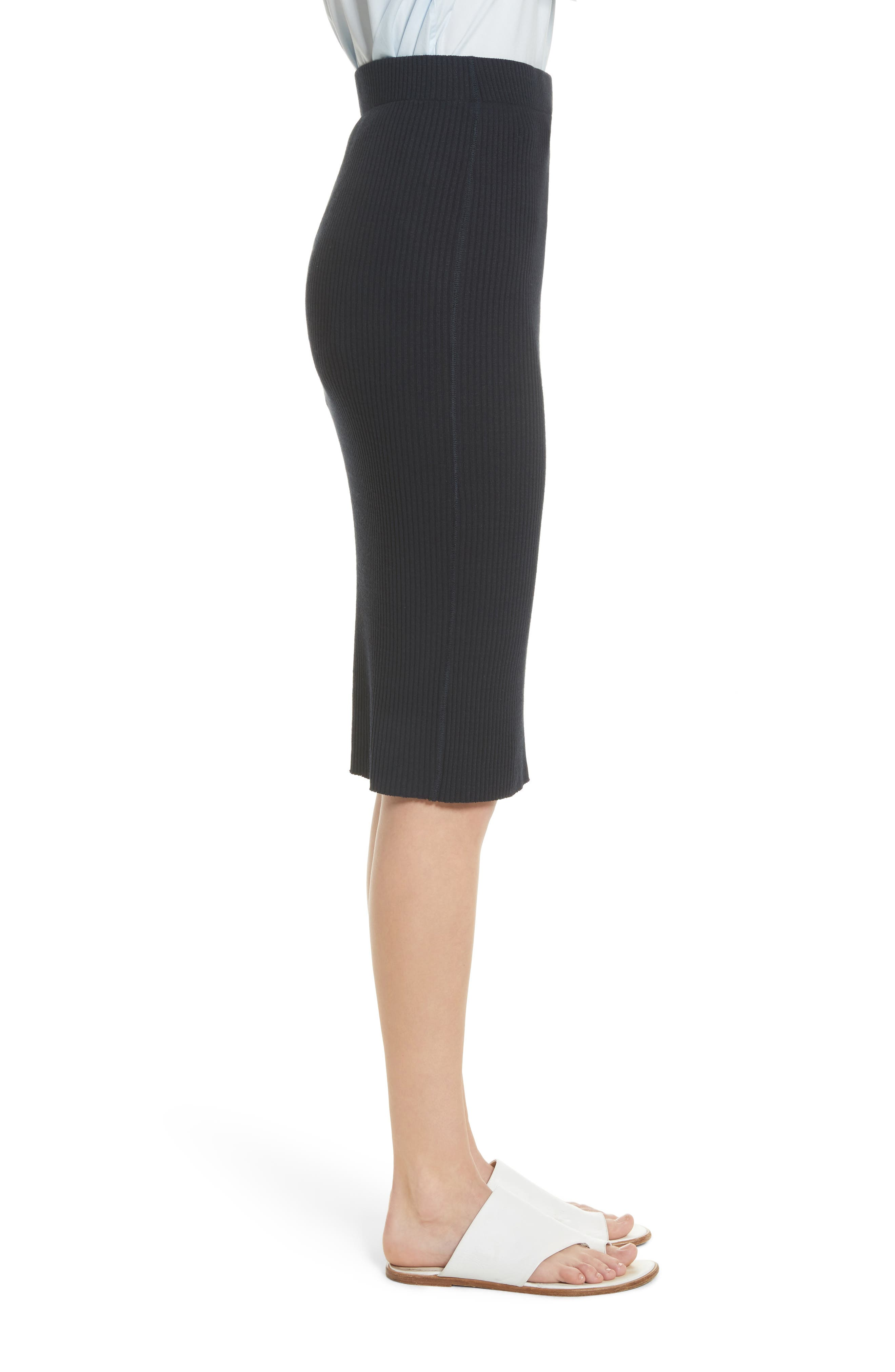 Ribbed Pencil Skirt,                             Alternate thumbnail 3, color,                             Coastal