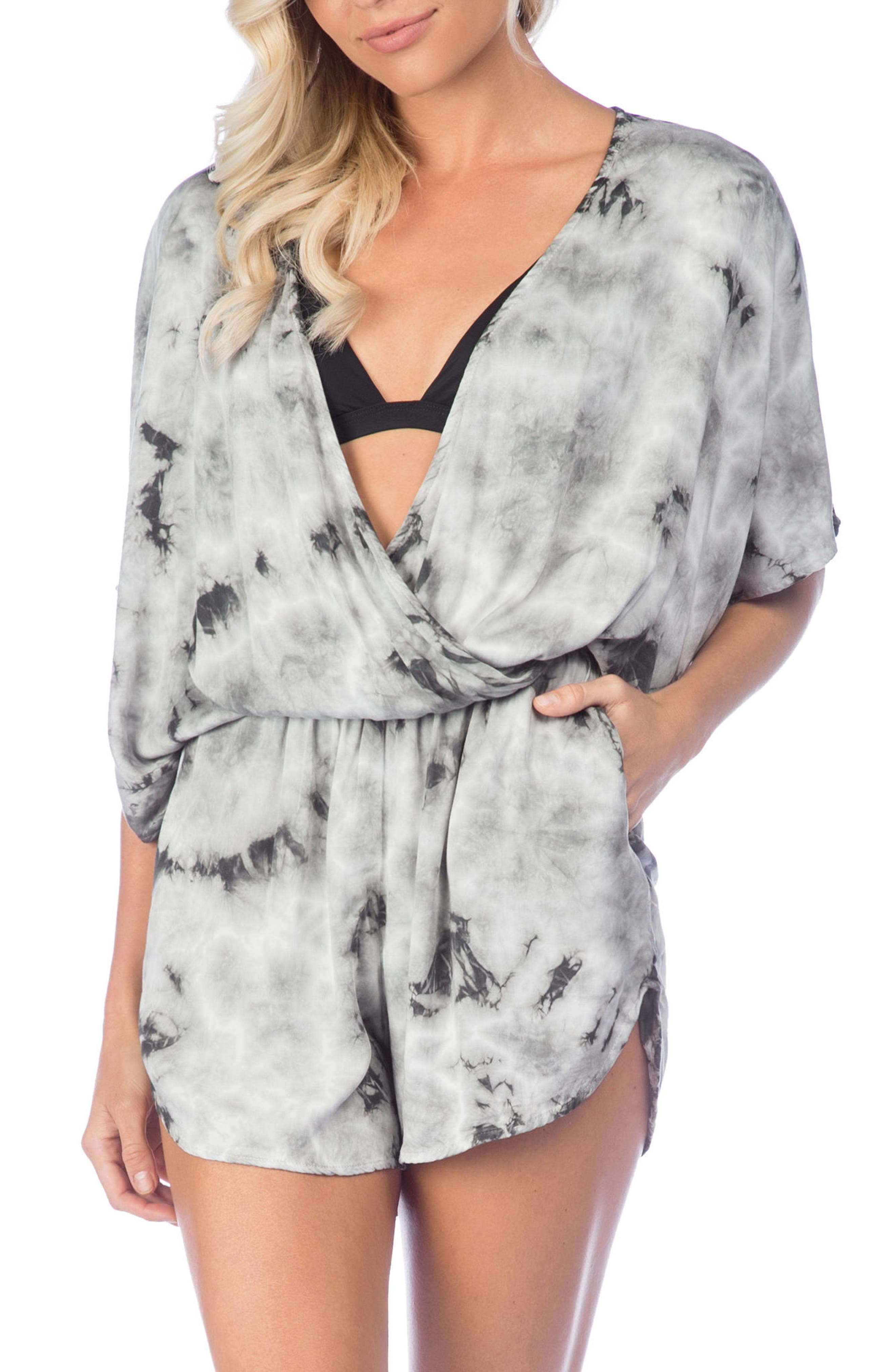 Crystal Forest Eliza Cover-Up Romper,                         Main,                         color, Charcoal
