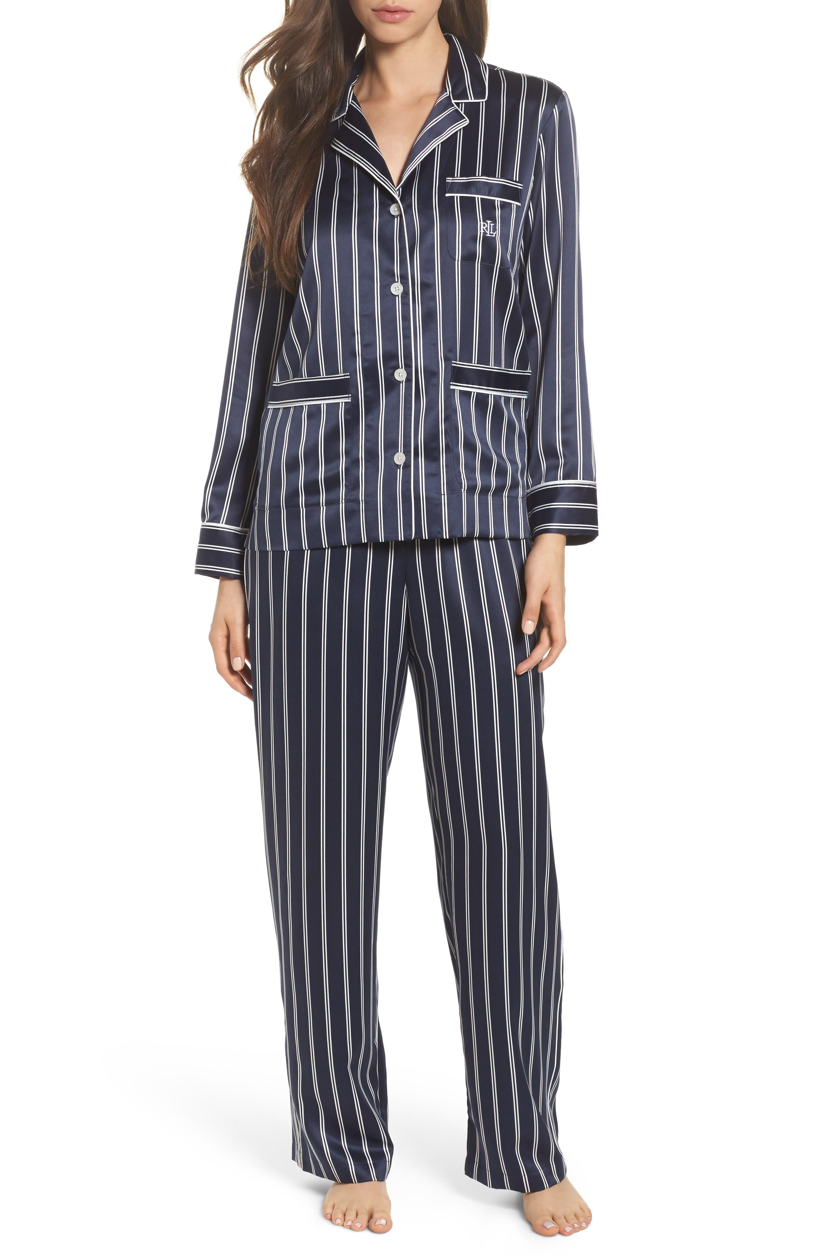 Satin Pajamas,                             Main thumbnail 1, color,                             Navy Stripe
