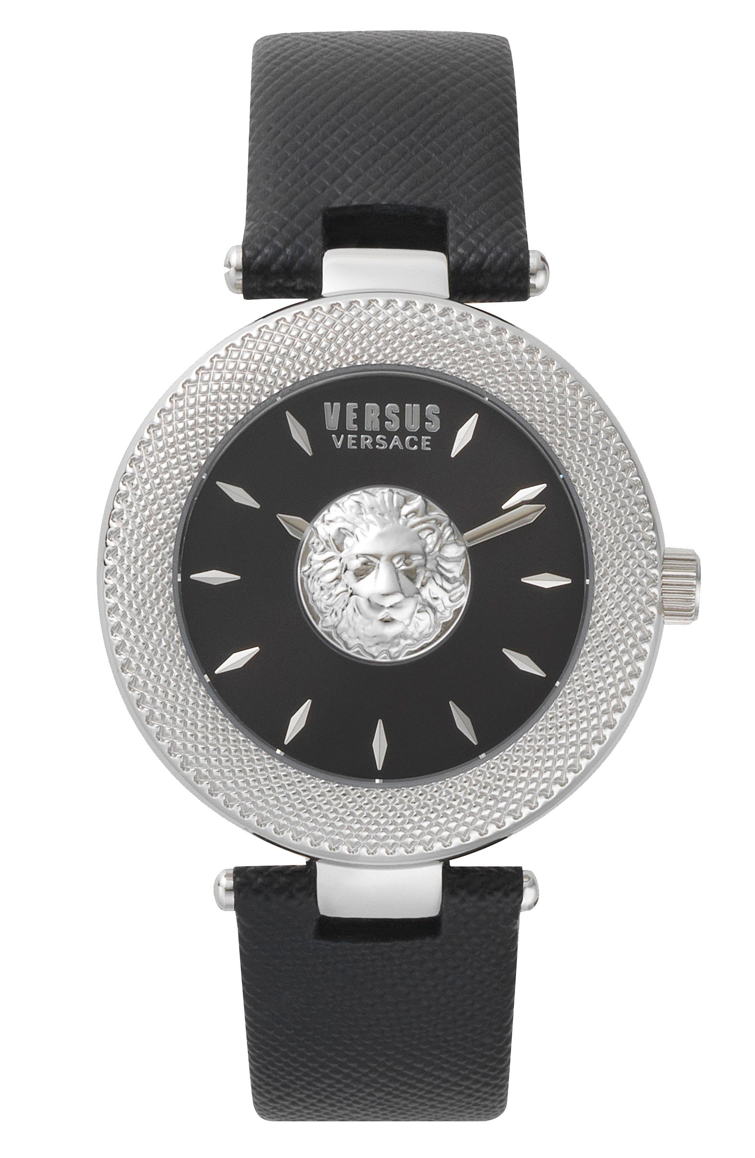 VERSUS by Versace Brick Lane Leather Strap Watch, 40mm,                             Main thumbnail 1, color,                             Black