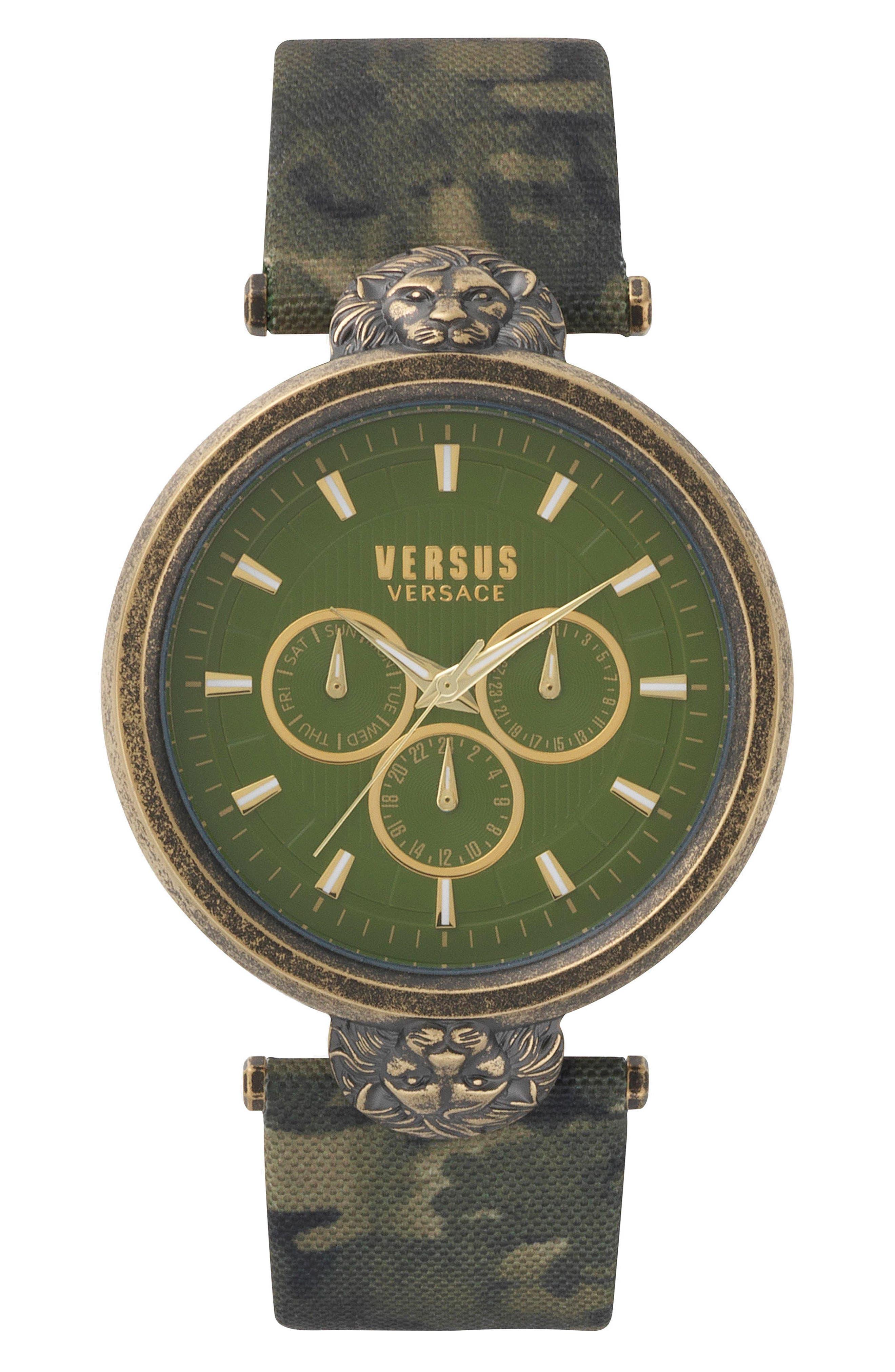 Versus  VICTORIA HARBOUR LEATHER STRAP WATCH, 44MM