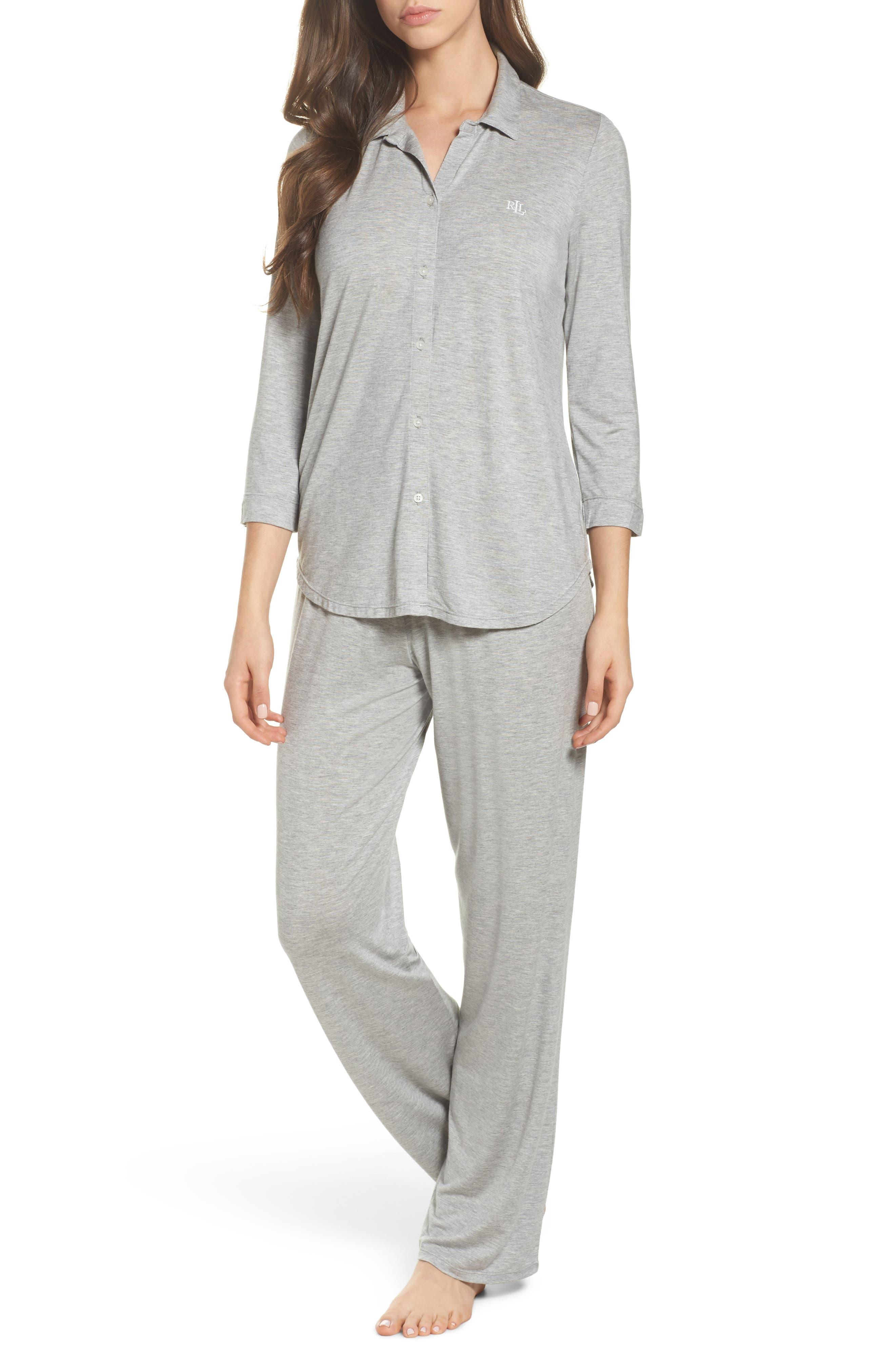 Jersey Pajamas,                             Main thumbnail 1, color,                             Heather Grey Feeder Stripe
