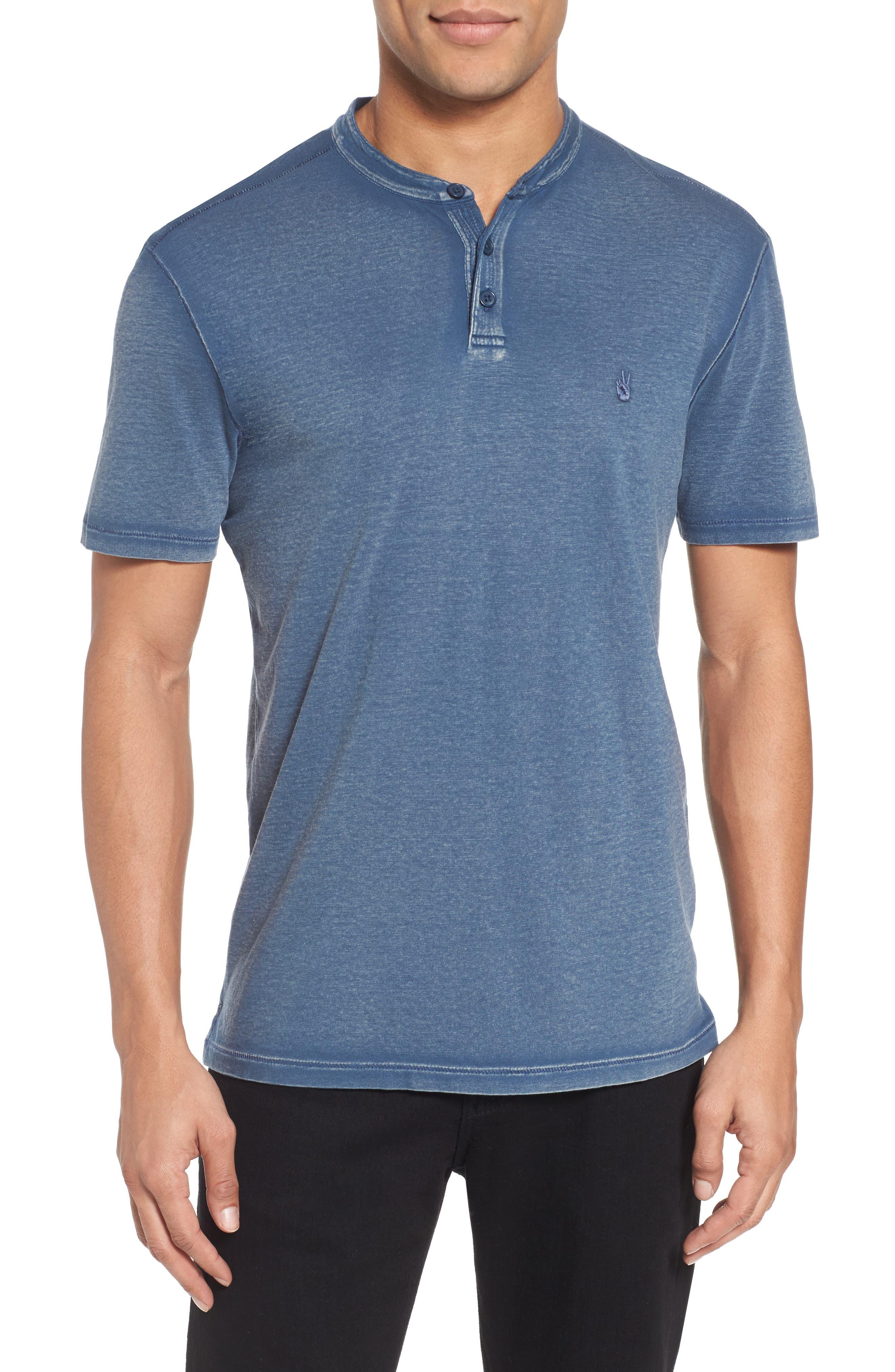 Regular Fit Cotton Henley,                         Main,                         color, Stream Blue