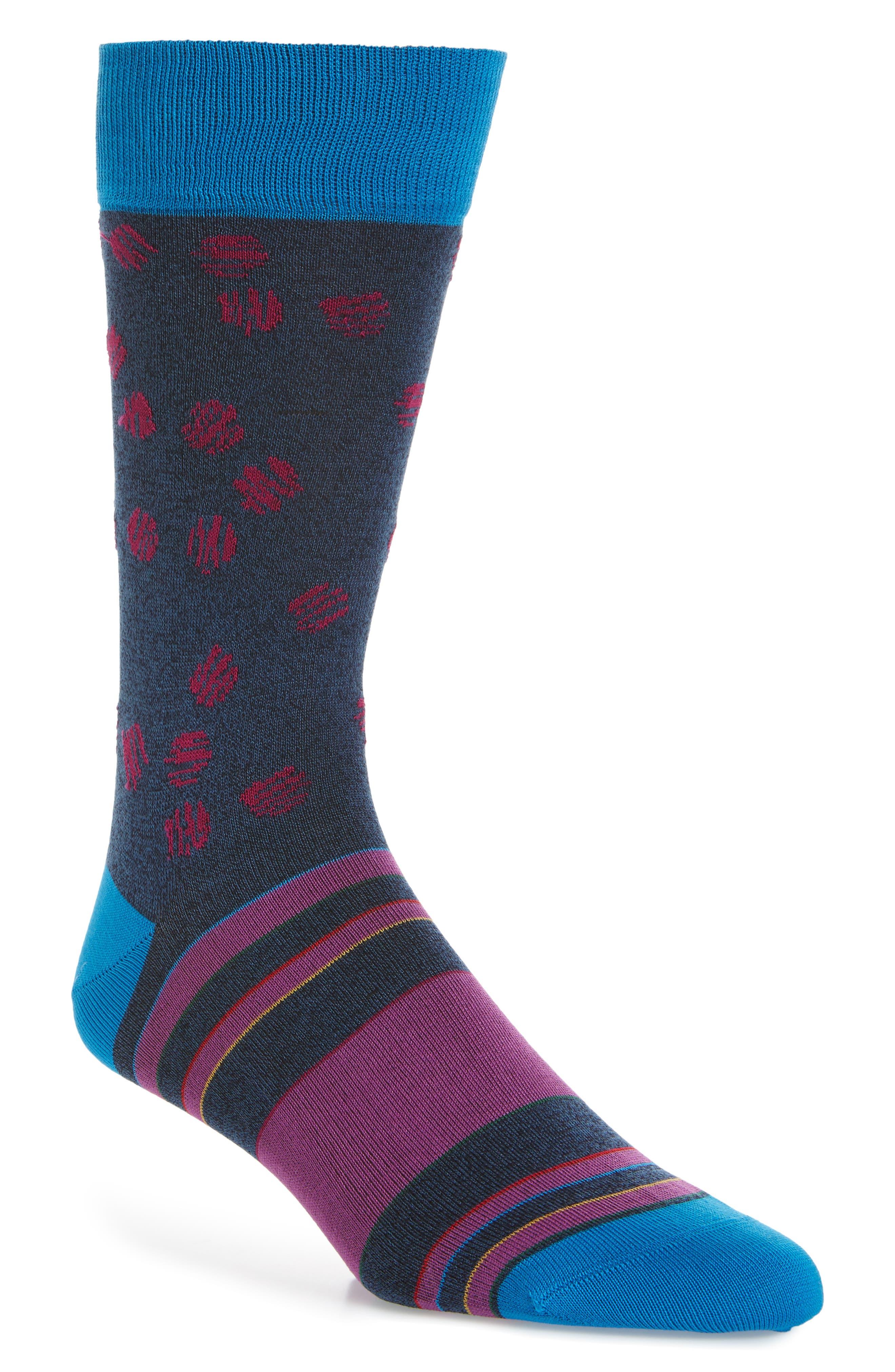 Cotton Blend Socks,                         Main,                         color, Navy