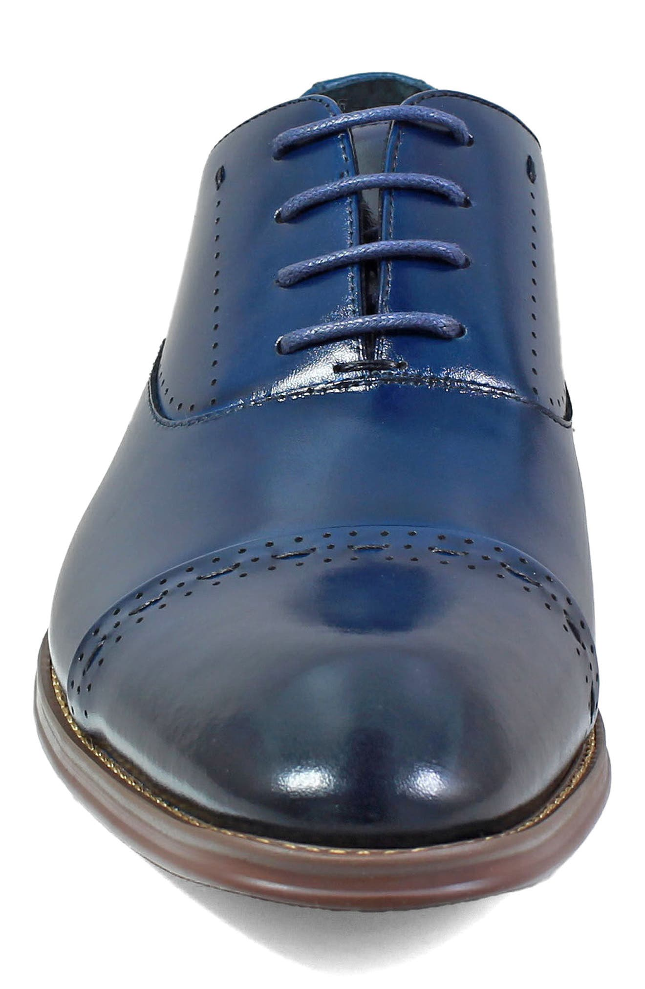 Barris Cap Toe Derby,                             Alternate thumbnail 4, color,                             Ink Blue Leather