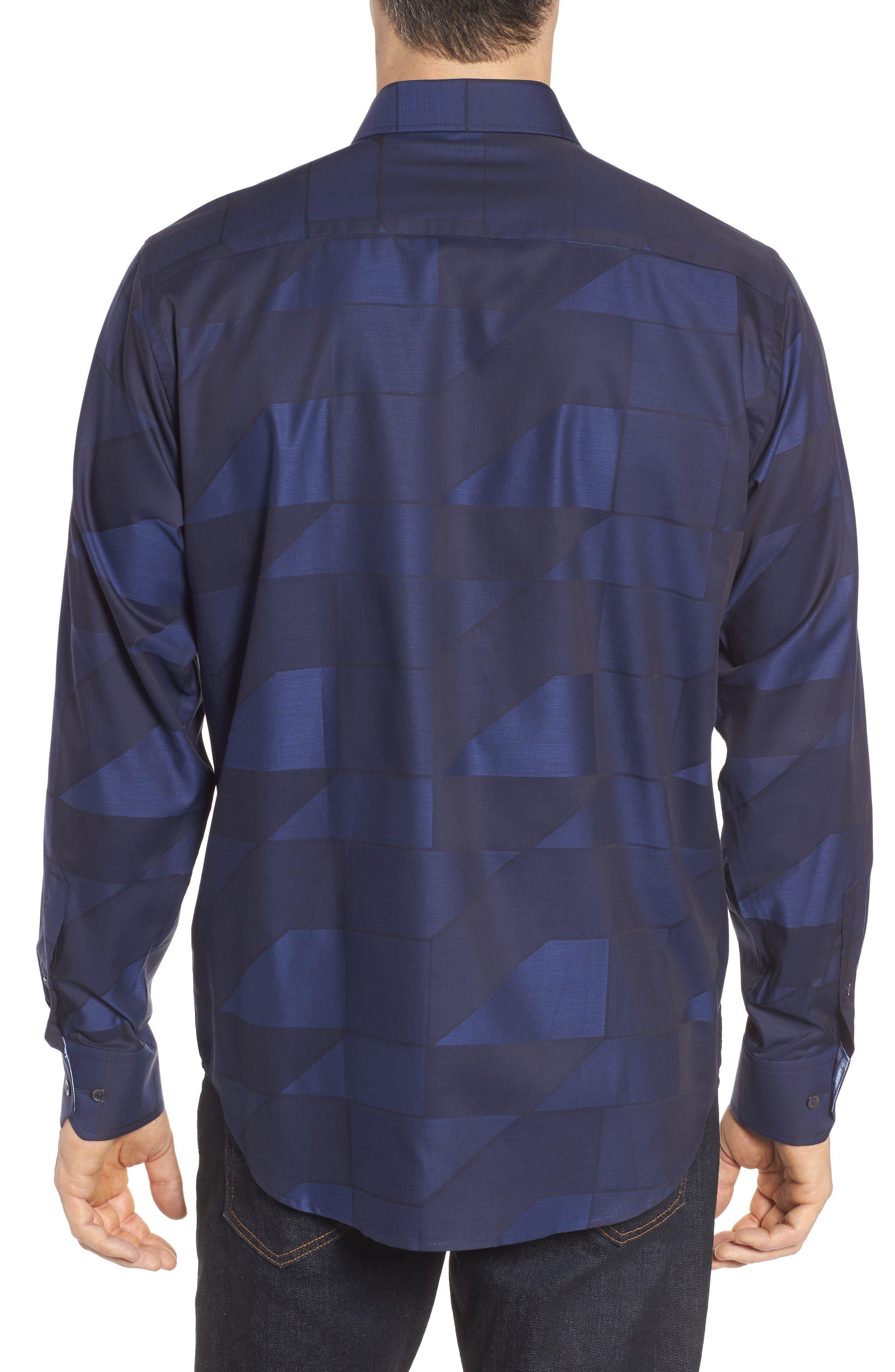 Classic Fit Print Sport Shirt,                             Alternate thumbnail 2, color,                             Night Blue