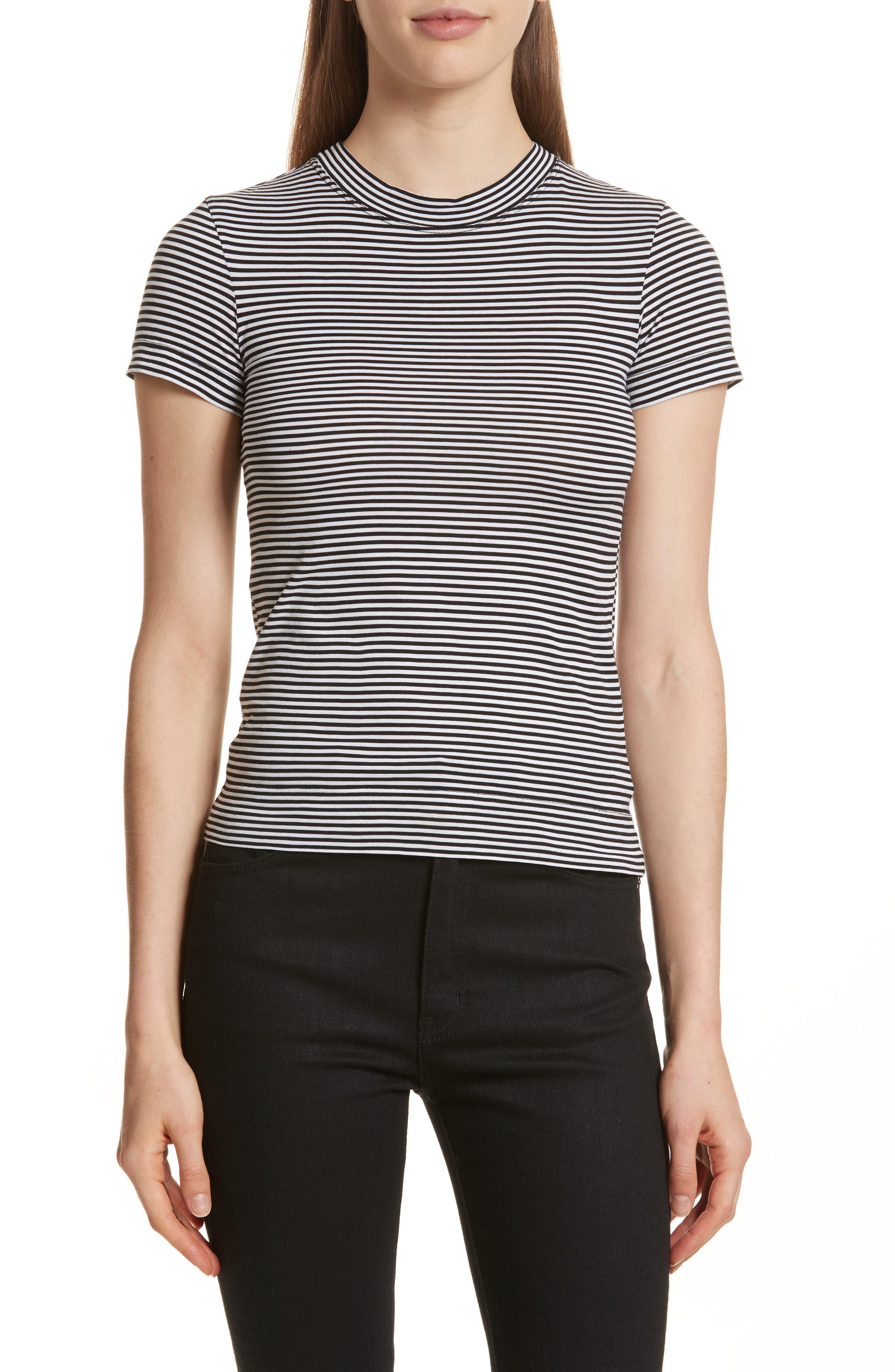 Apex Stripe Crop Tee,                         Main,                         color, Black/ White
