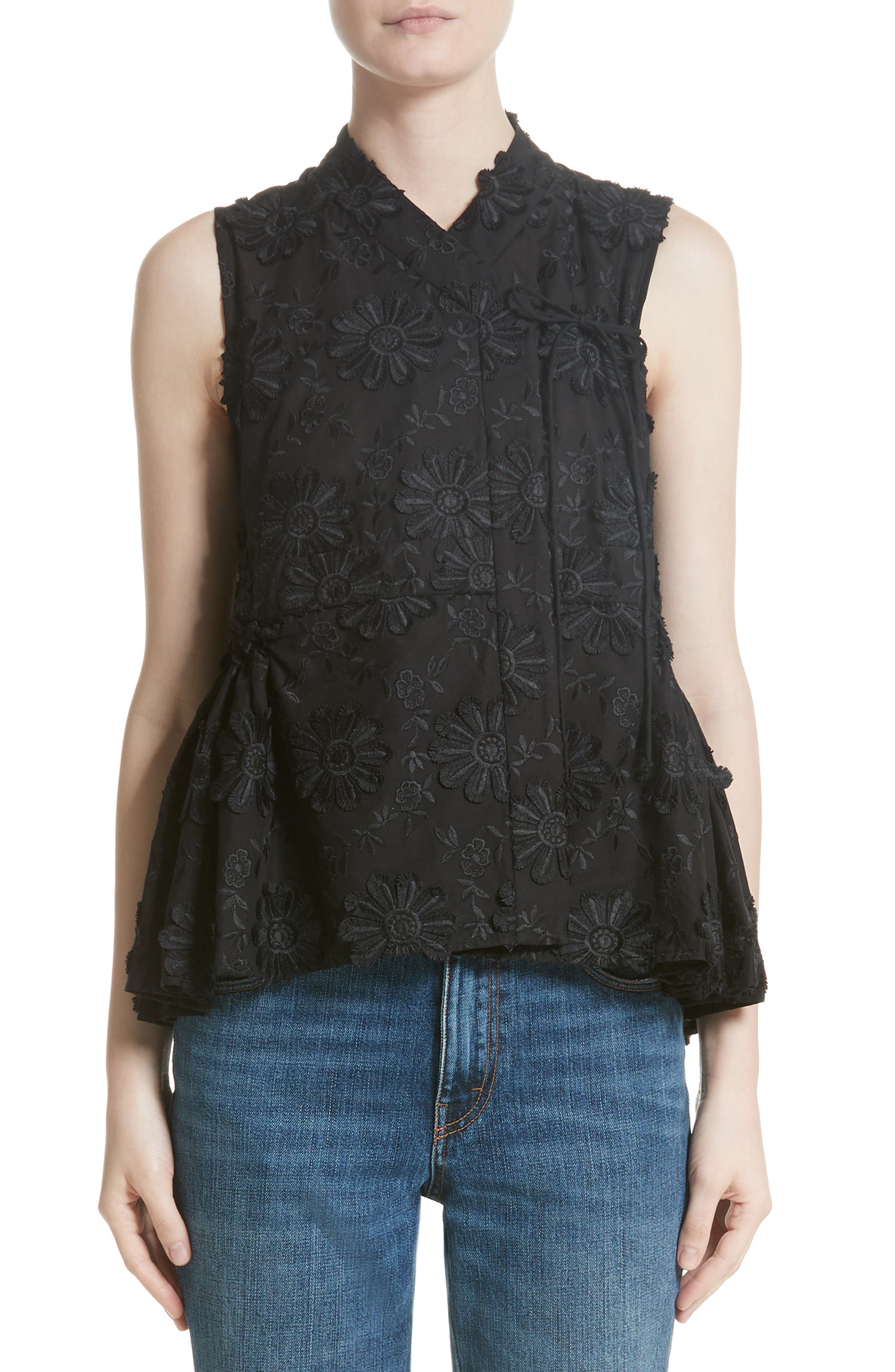 Floral Embroidered Peplum top,                             Main thumbnail 1, color,                             Black