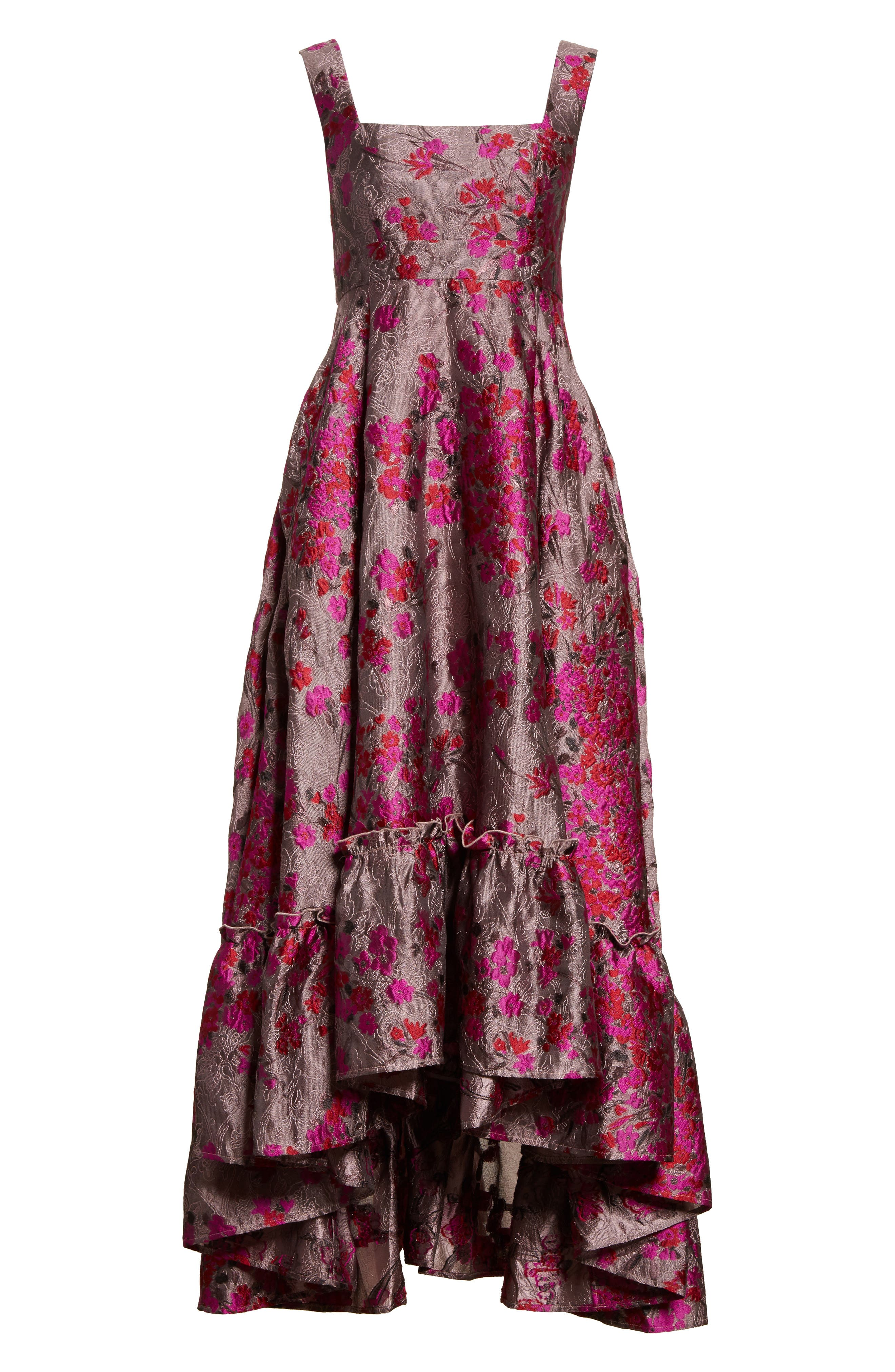 Metallic Jacquard Midi Dress,                             Alternate thumbnail 8, color,                             Magenta