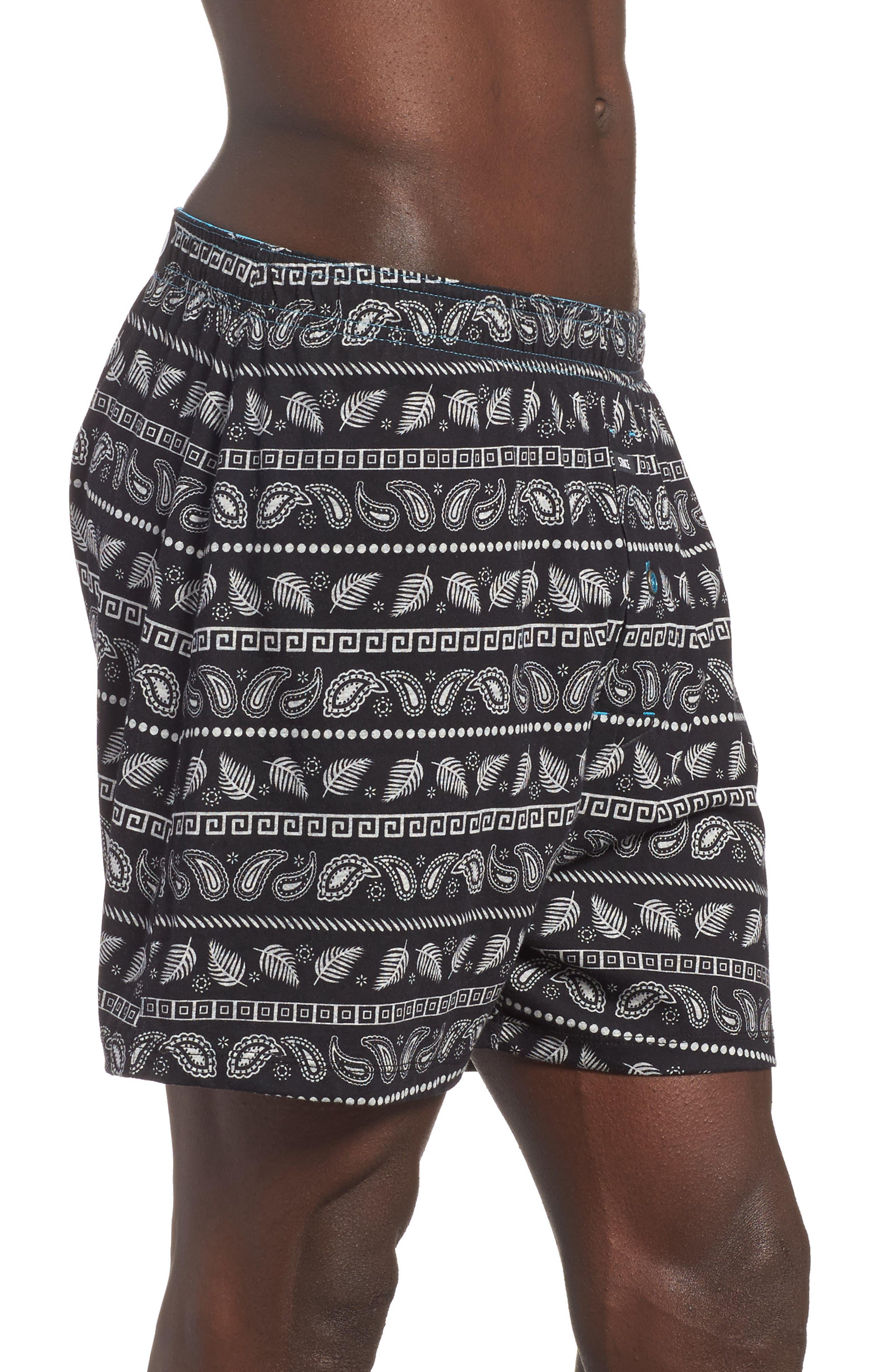 Paisley Stripe Boxers,                             Alternate thumbnail 3, color,                             Black