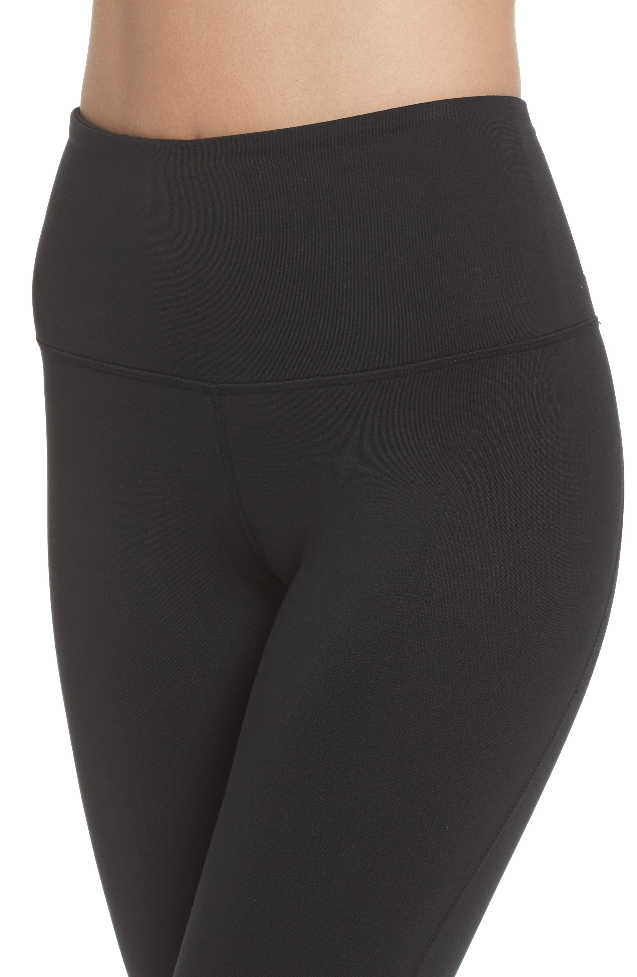 Live In High Waist Crop Leggings,                             Alternate thumbnail 4, color,                             Black