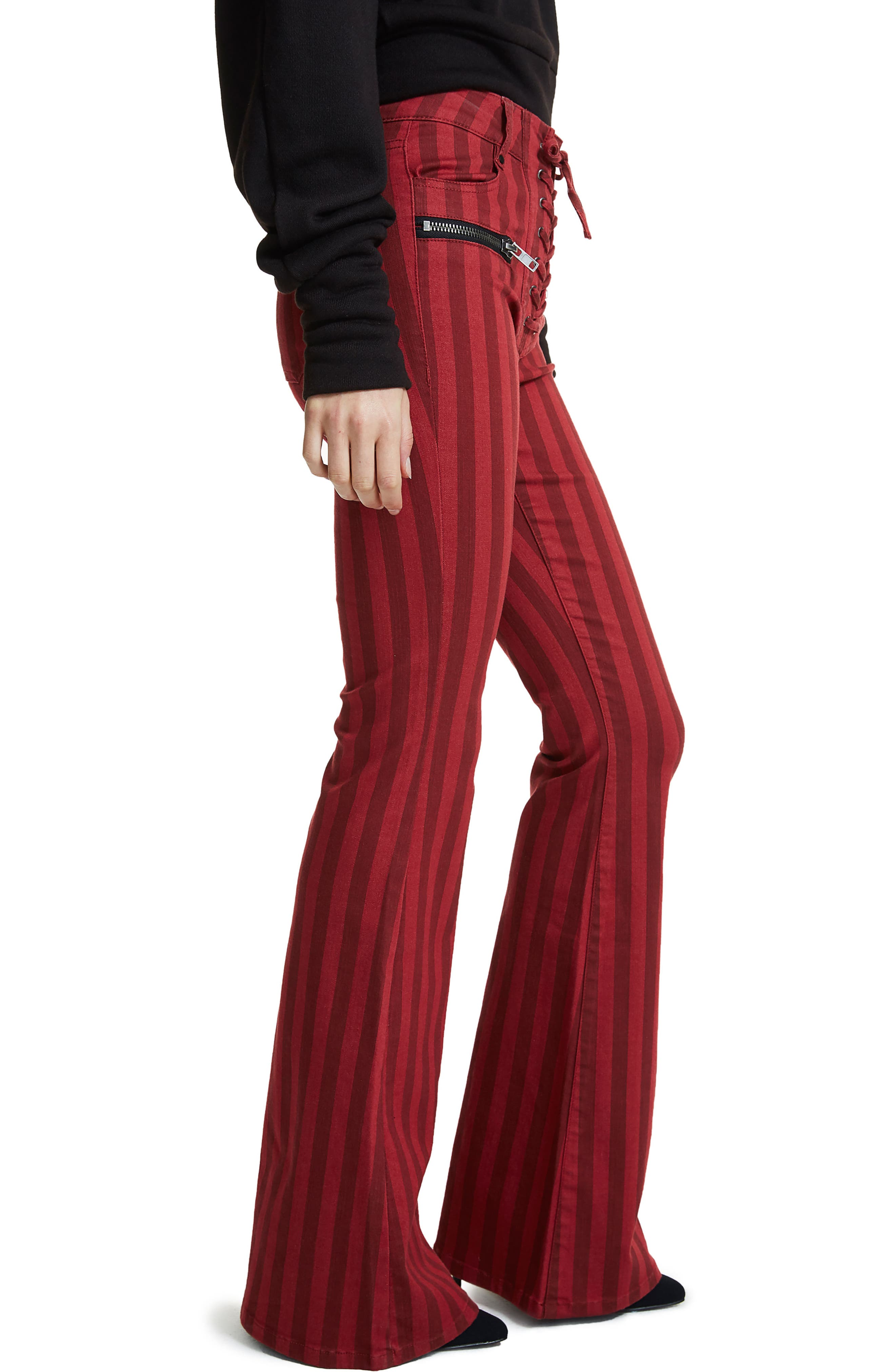 Alternate Image 4  - AFRM Claire Lace-Up Flare Leg Jeans (Red Stripe)