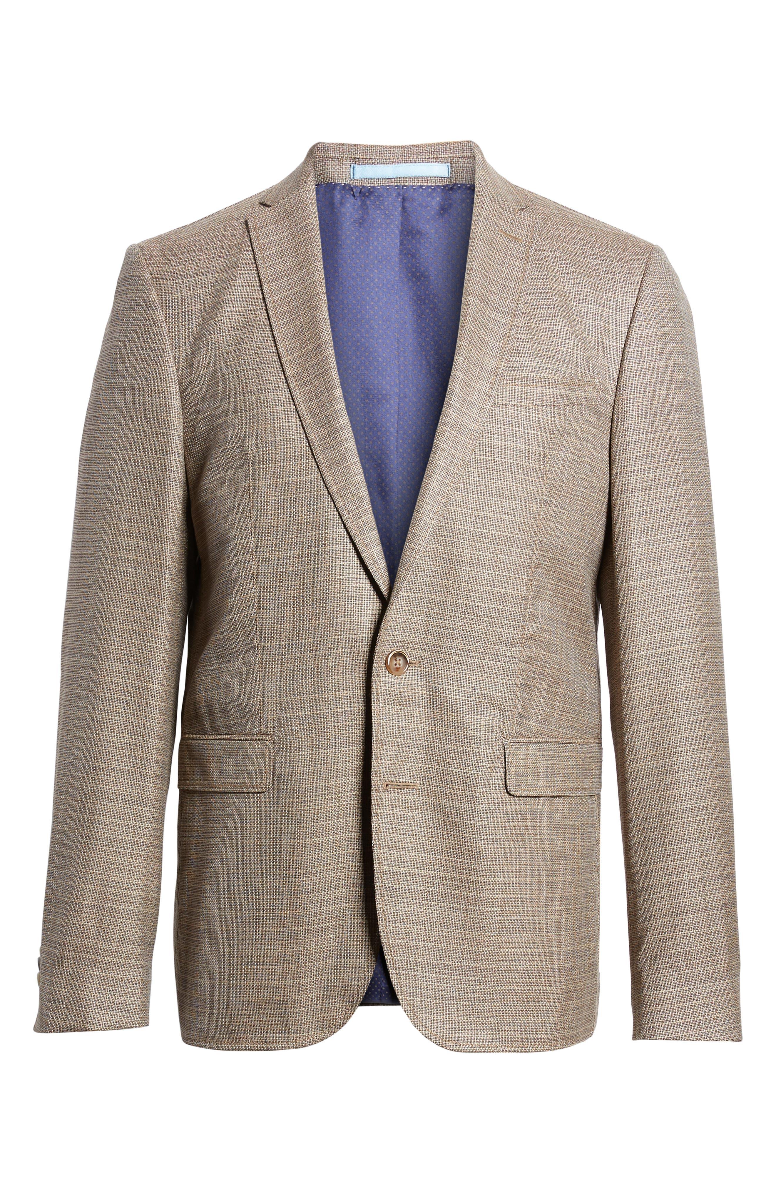 Trim Fit Wool Blazer,                             Alternate thumbnail 6, color,                             Khaki
