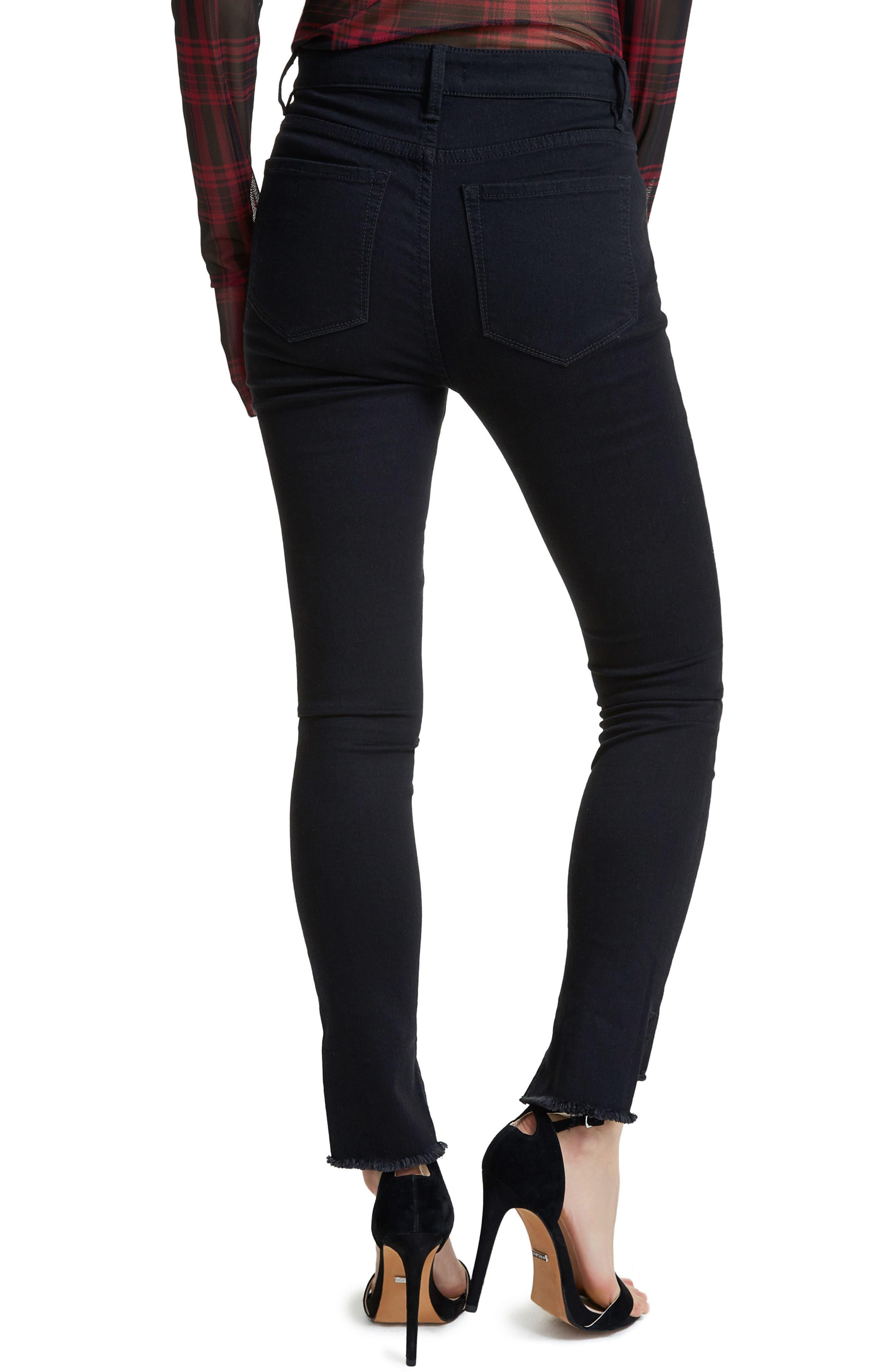 Jayden Stagger Hem Skinny Jeans,                             Alternate thumbnail 2, color,                             Noir