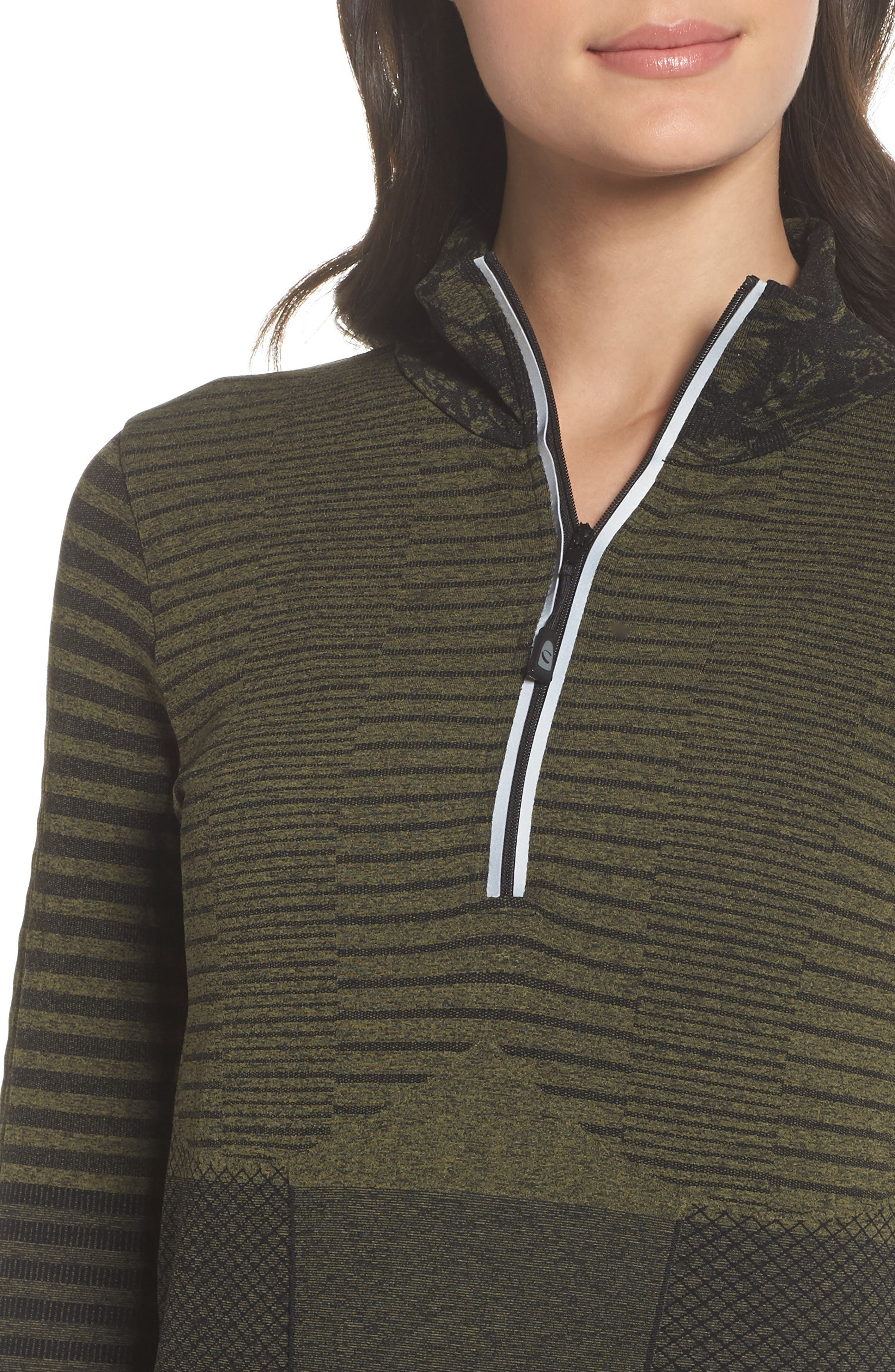 Vitality Quarter Zip Pullover,                             Alternate thumbnail 4, color,                             Deep Lichen Green/ Black