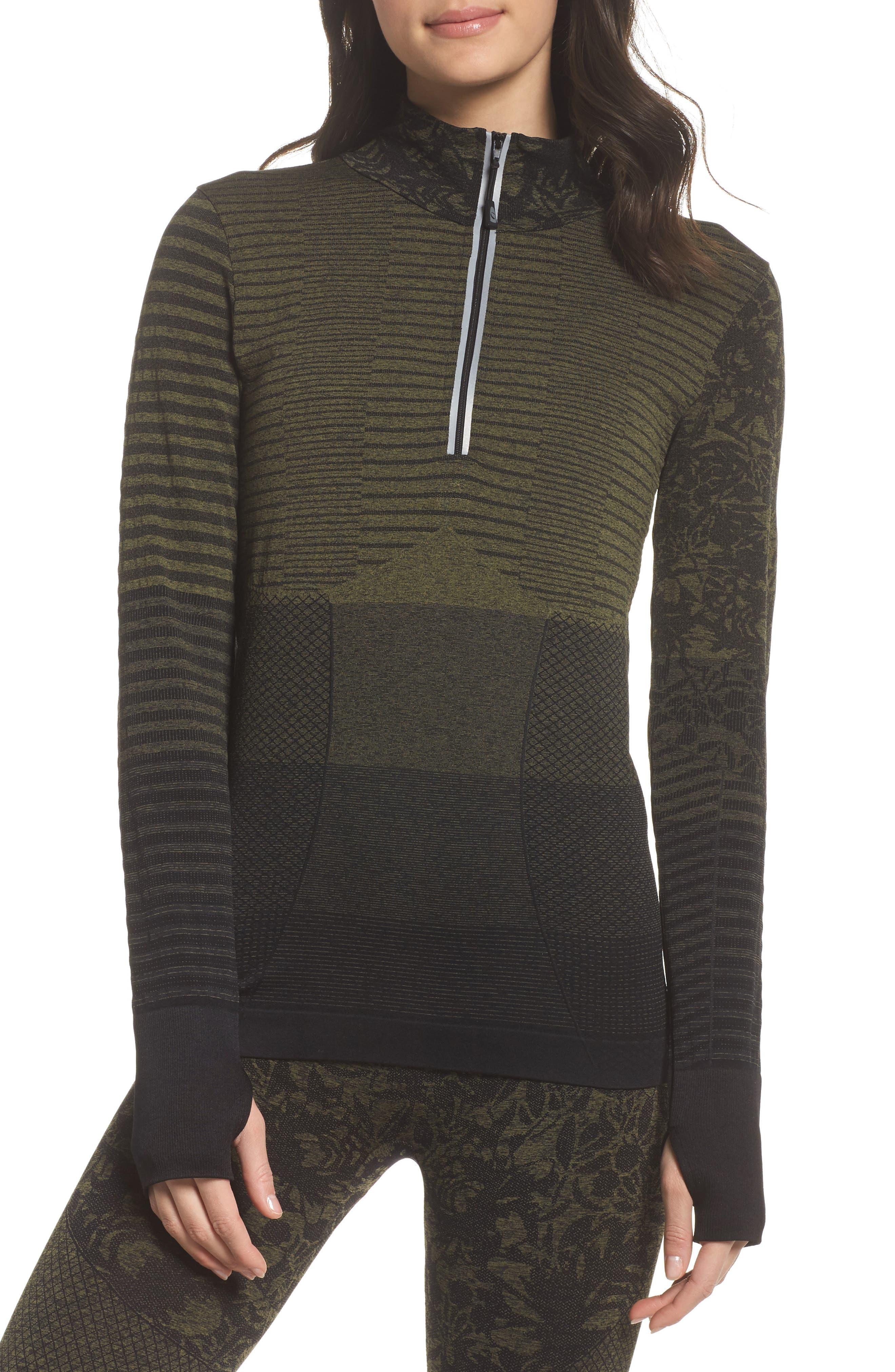Vitality Quarter Zip Pullover,                             Main thumbnail 1, color,                             Deep Lichen Green/ Black