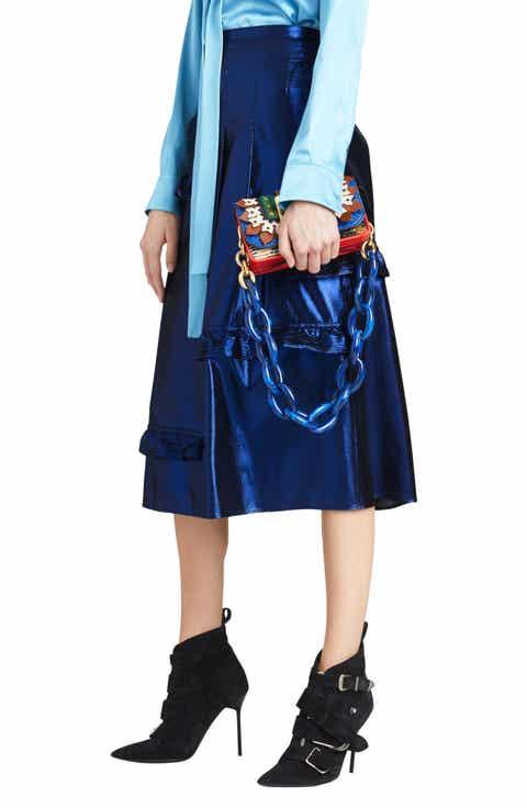 Burberry Merse Metallic Ruffle Skirt