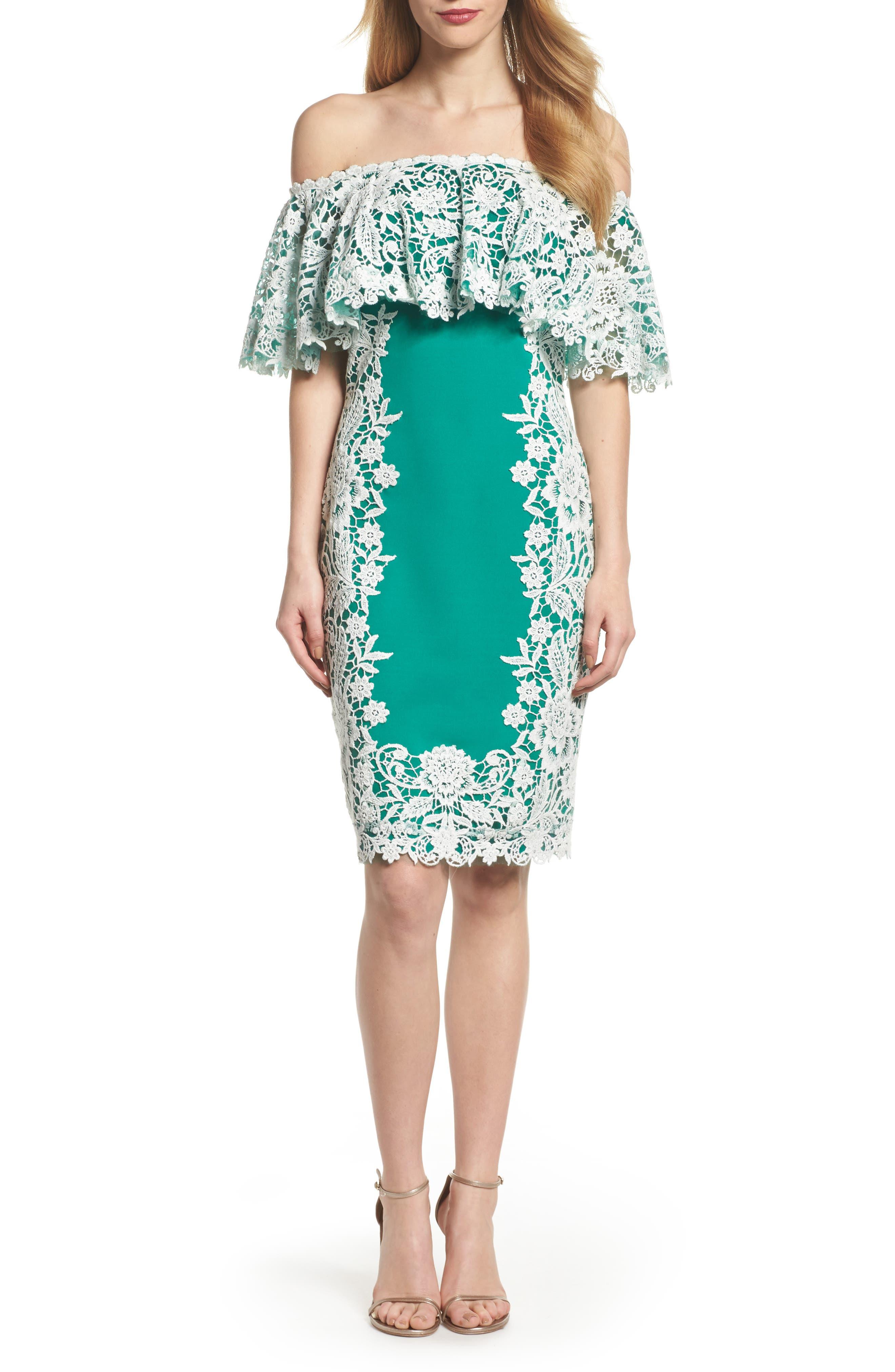 Off the Shoulder Crochet & Neoprene Dress,                         Main,                         color, Ivory/ Retro Green