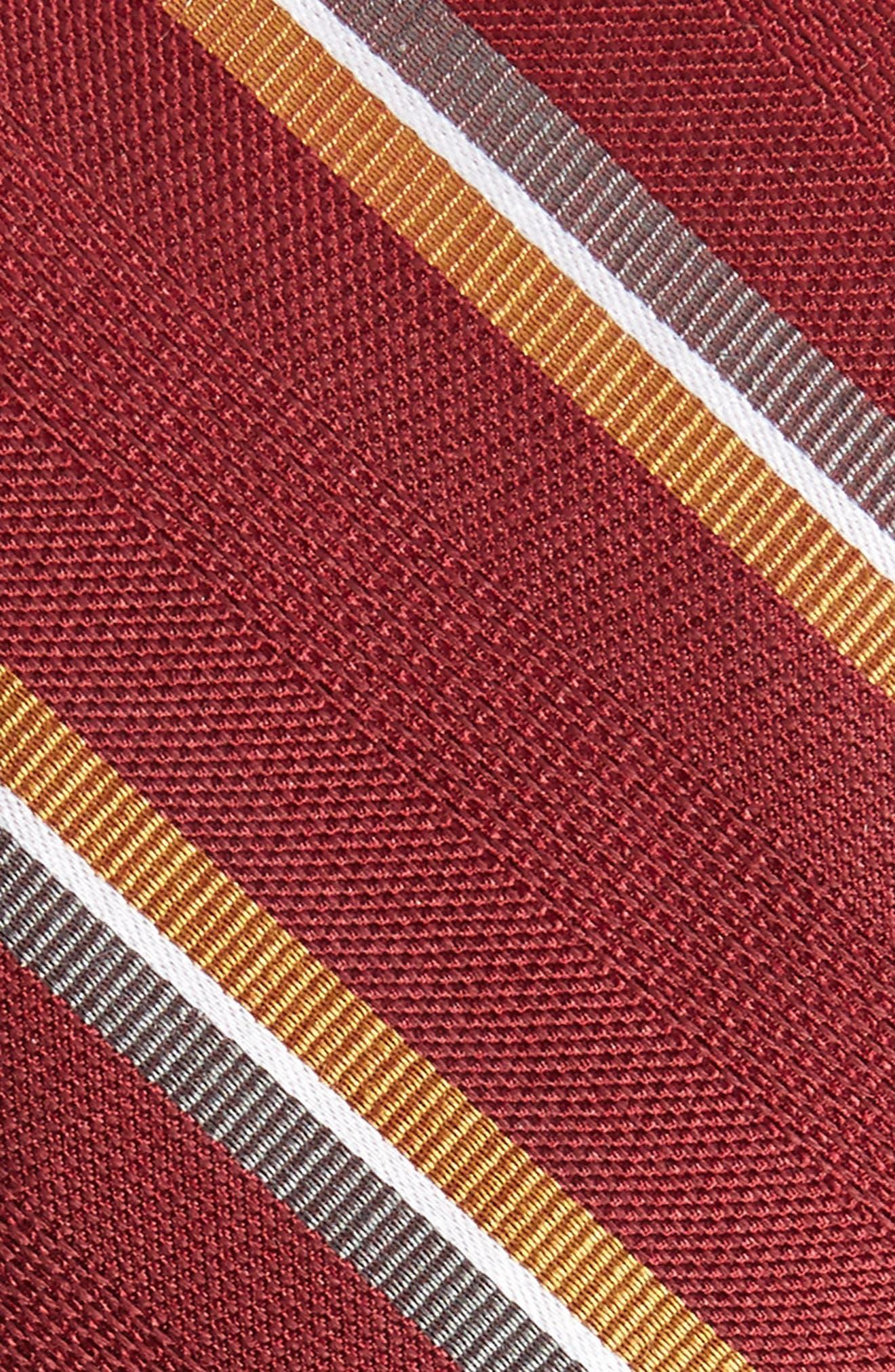 Short Cut Stripe Silk & Wool Skinny Tie,                             Alternate thumbnail 2, color,                             Burgundy