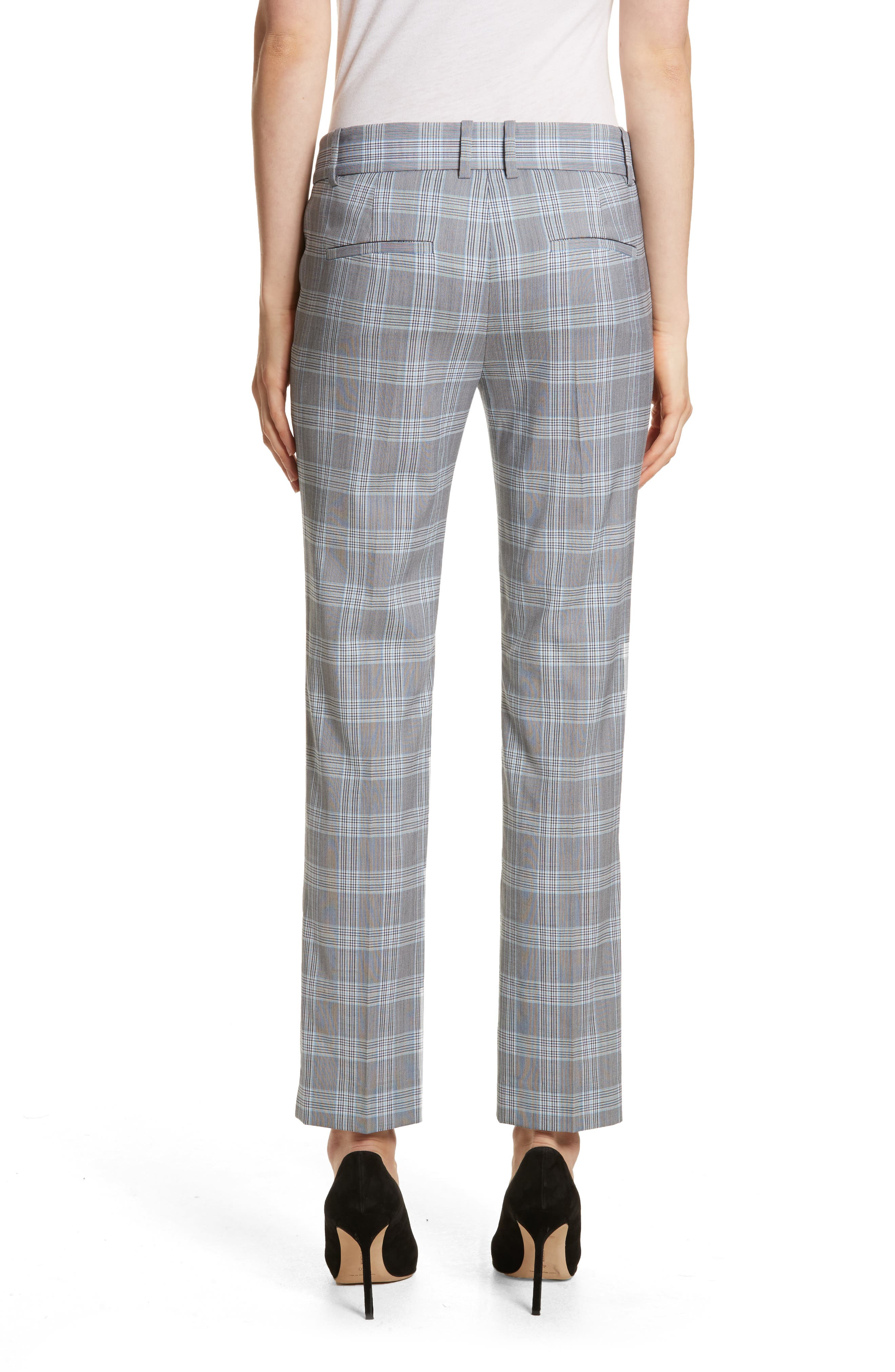 Maple Check 2 Straight Crop Trousers,                             Alternate thumbnail 2, color,                             White