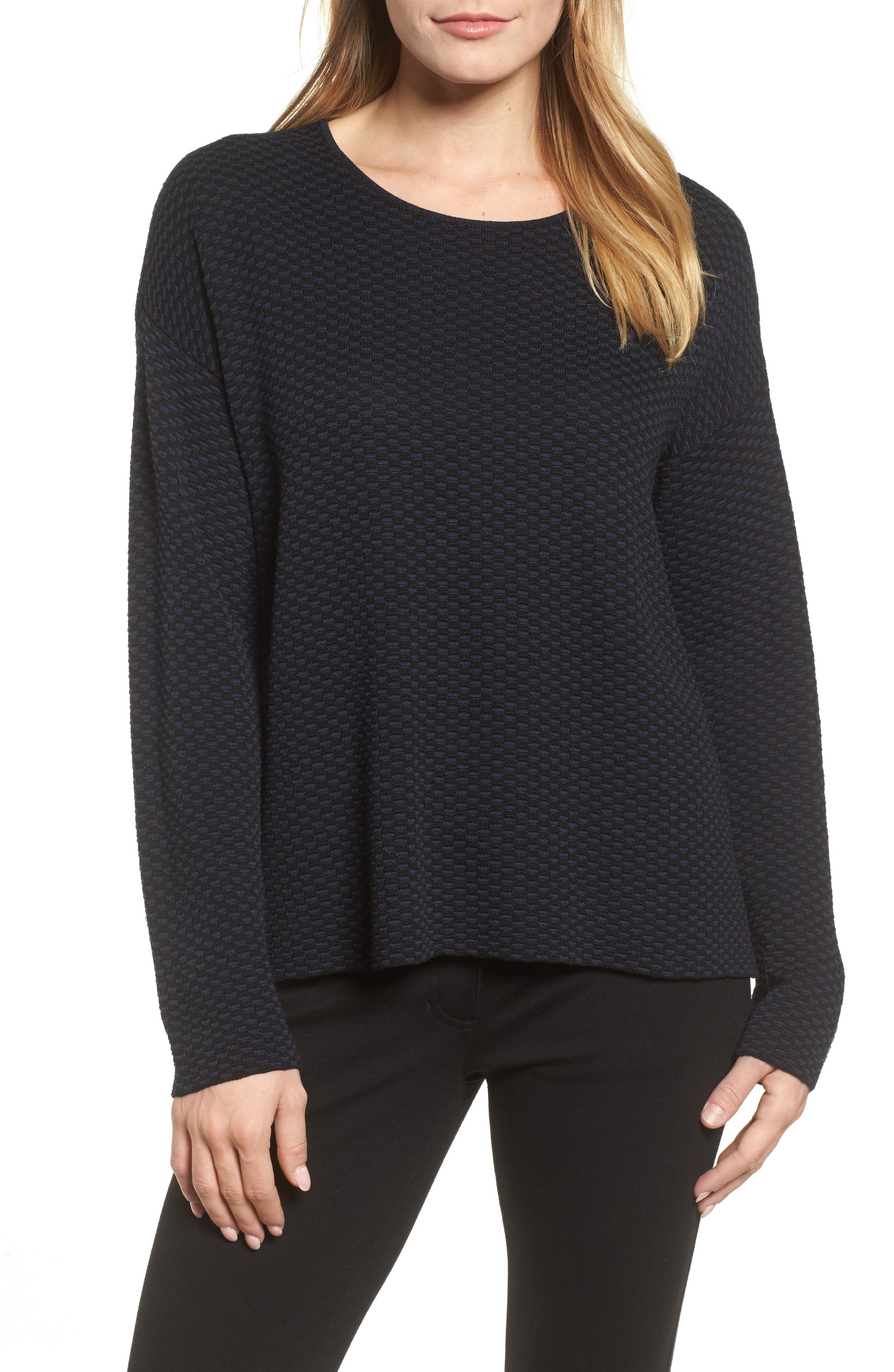 Textured Crewneck Sweater,                             Main thumbnail 1, color,                             Midnight