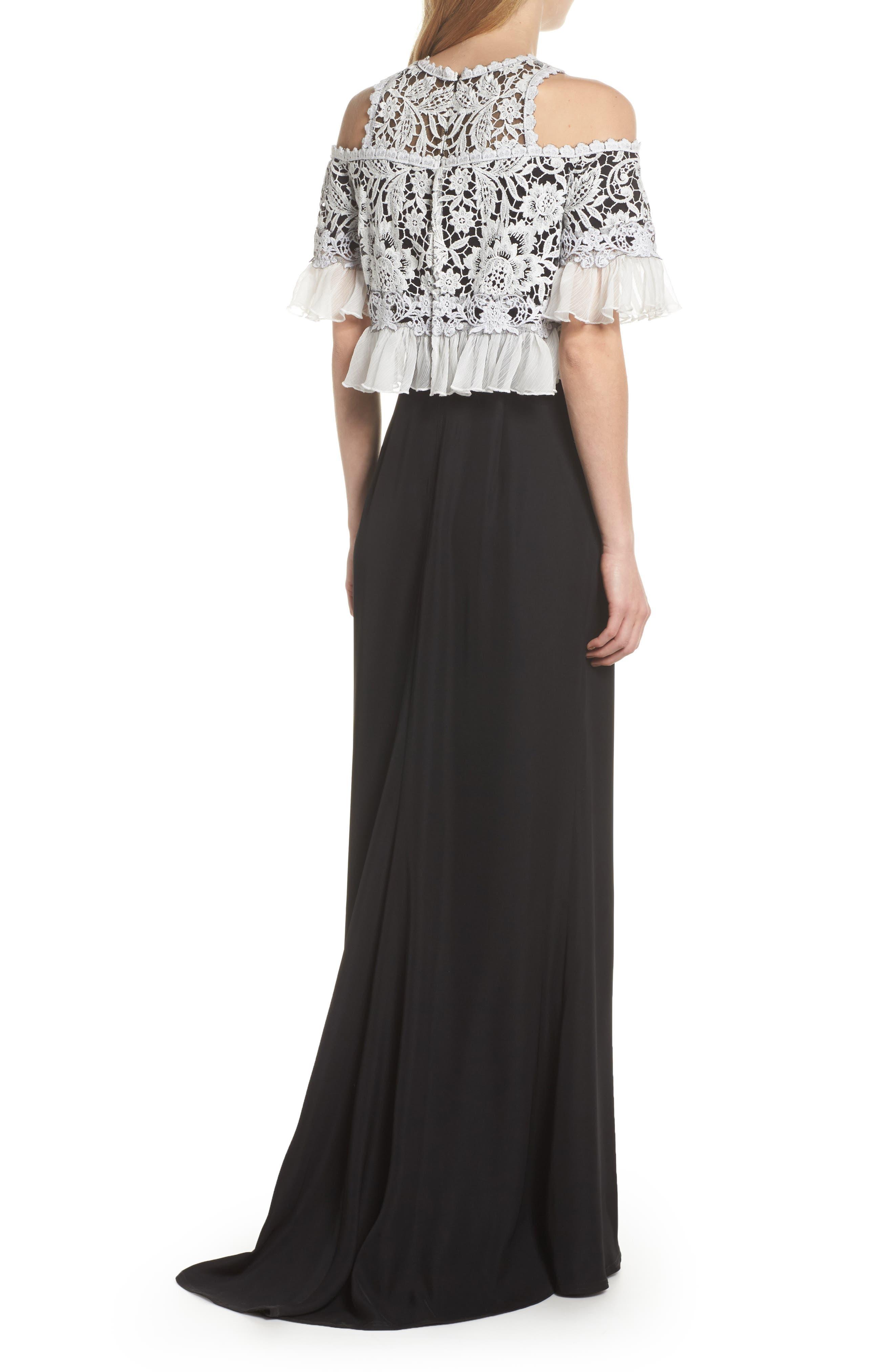 Crochet Bodice Gown,                             Alternate thumbnail 2, color,                             Black/ Ivory