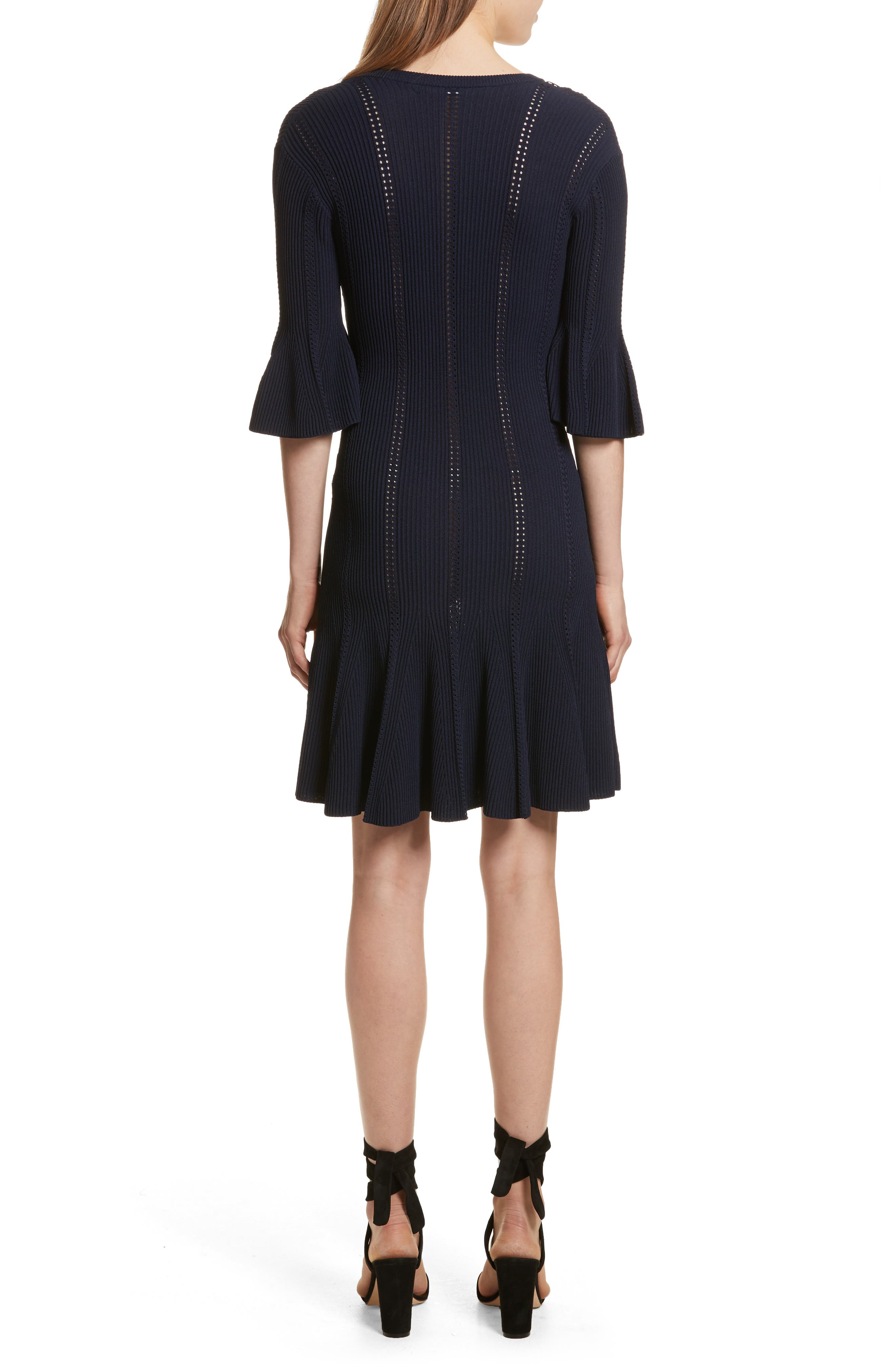 Lace-Up Detail Dress,                             Alternate thumbnail 2, color,                             Midnight