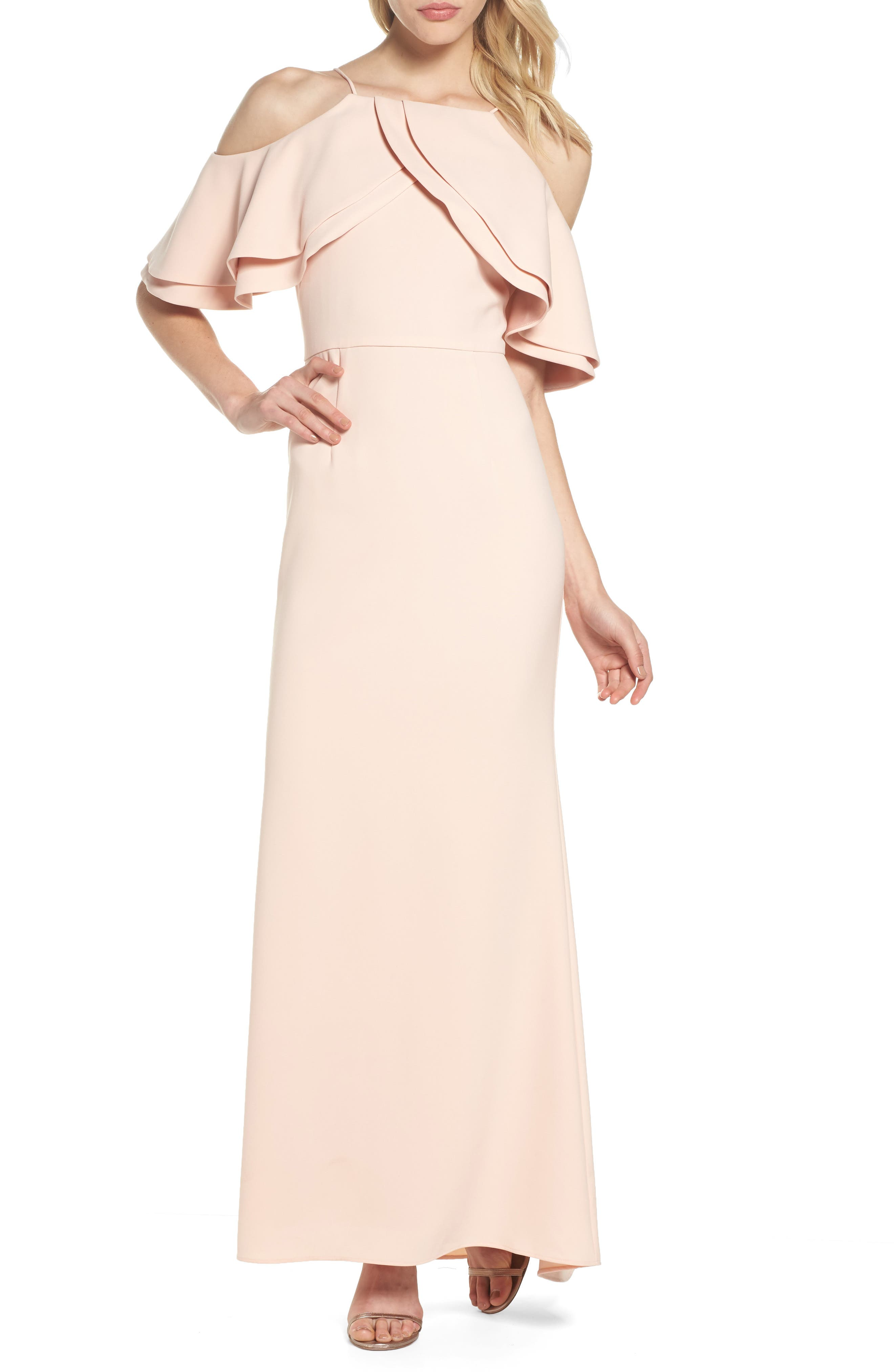 Ruffle Bodice Cold Shoulder Gown,                         Main,                         color, Blush