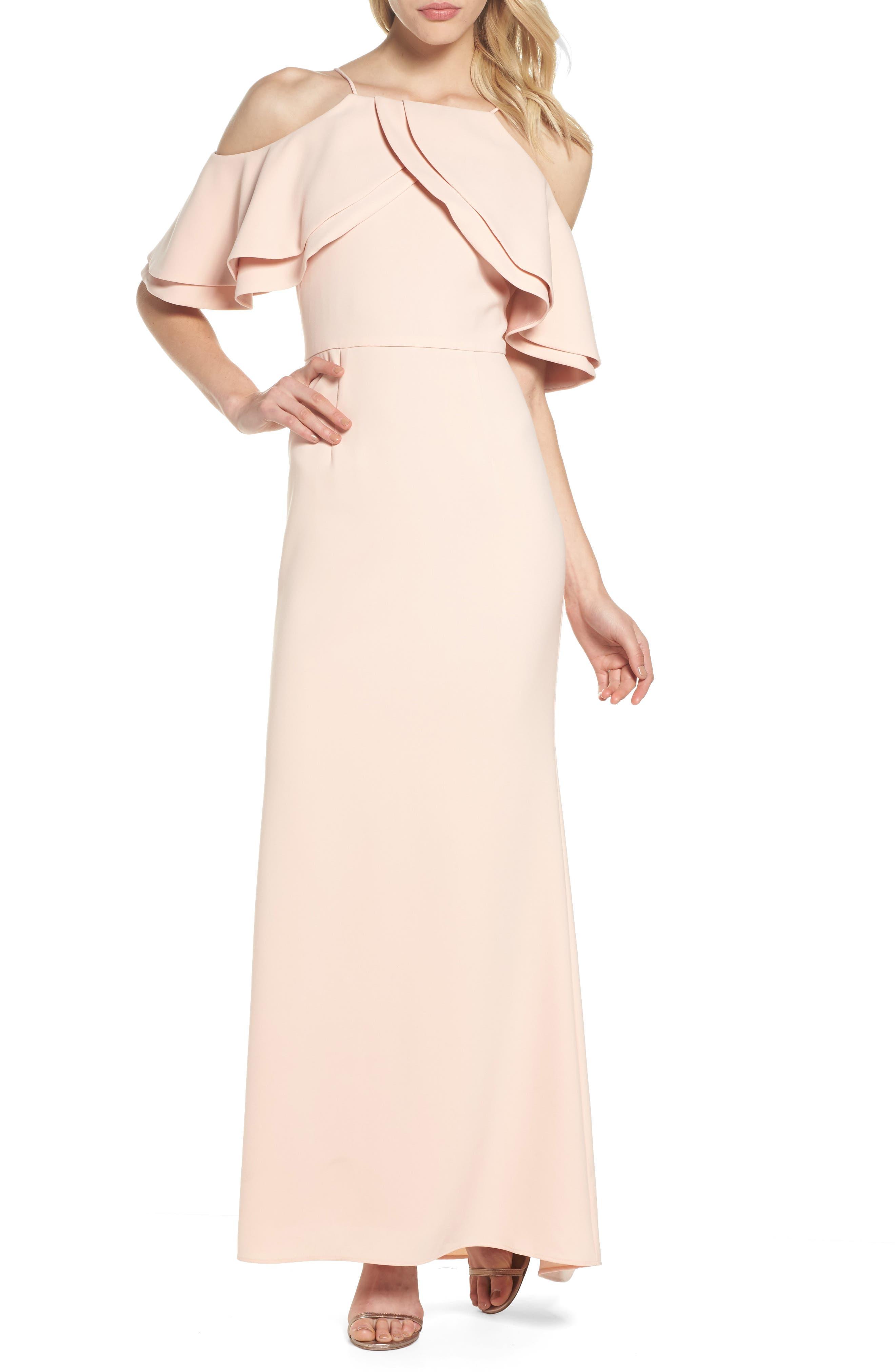 Eliza J Ruffle Bodice Cold Shoulder Gown