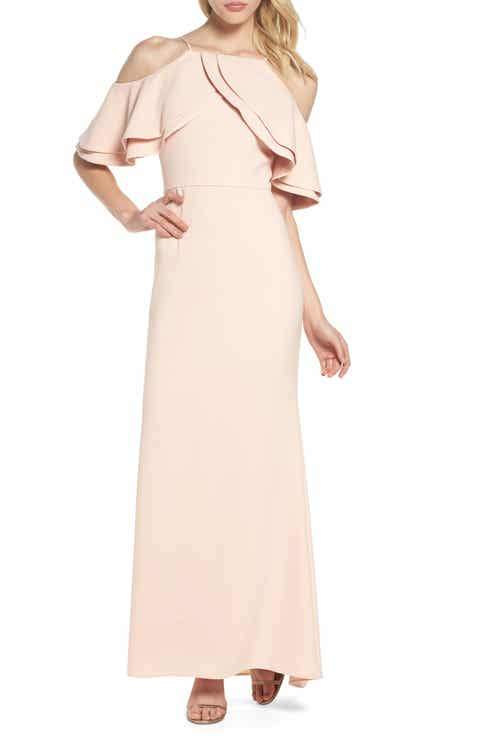 Eliza J Ruffle Bodice Cold Shoulder Gown | For Sale