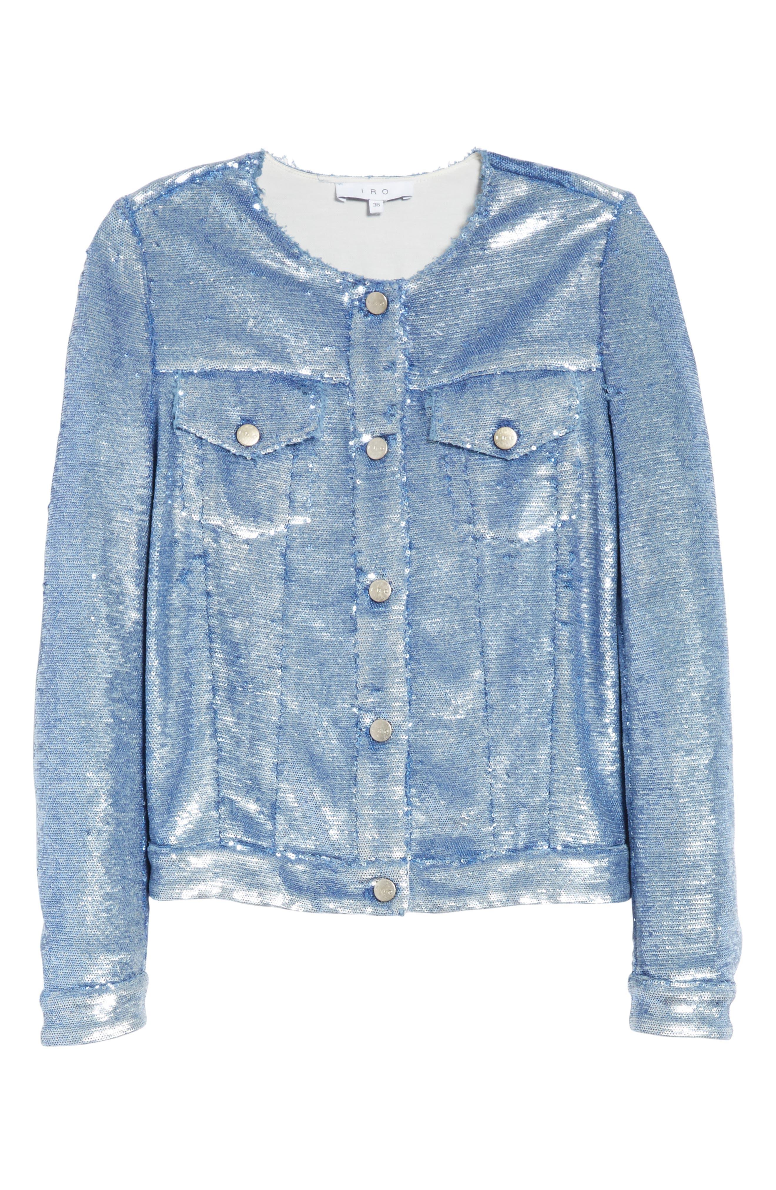 Dalome Sequin Jacket,                             Alternate thumbnail 6, color,                             Blushed Blue