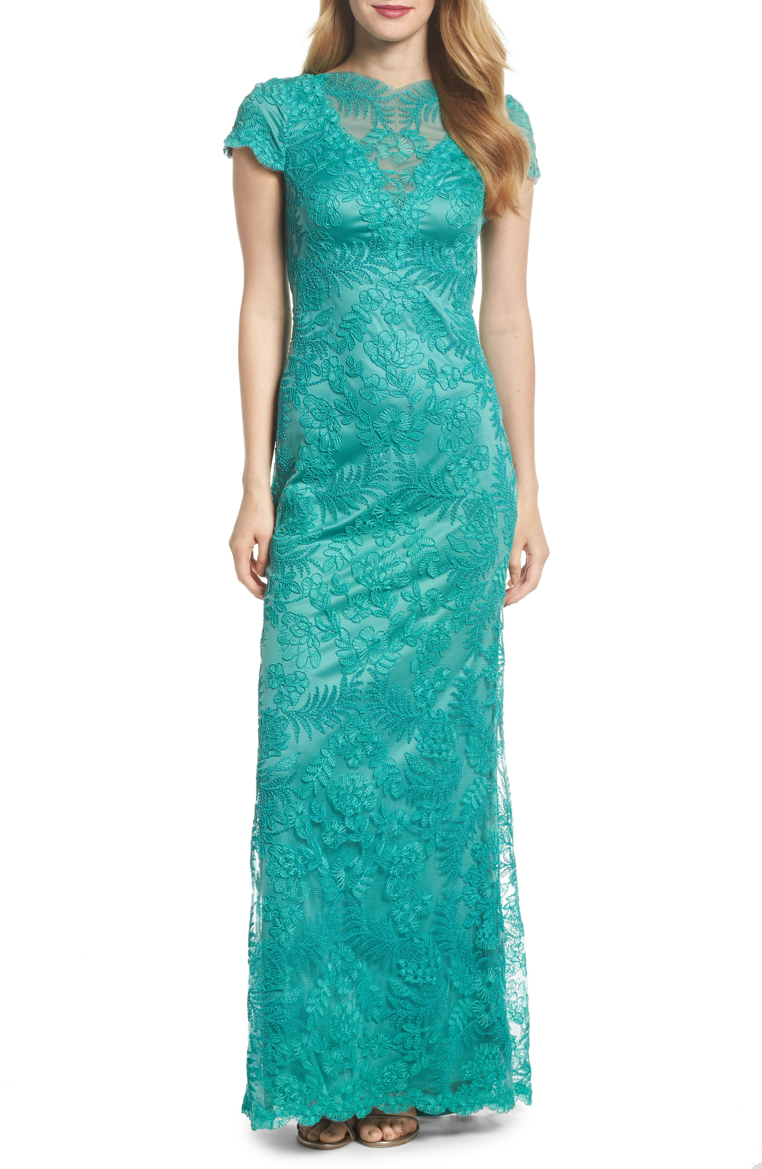 Embroidered Gown,                         Main,                         color, Cool Aqua