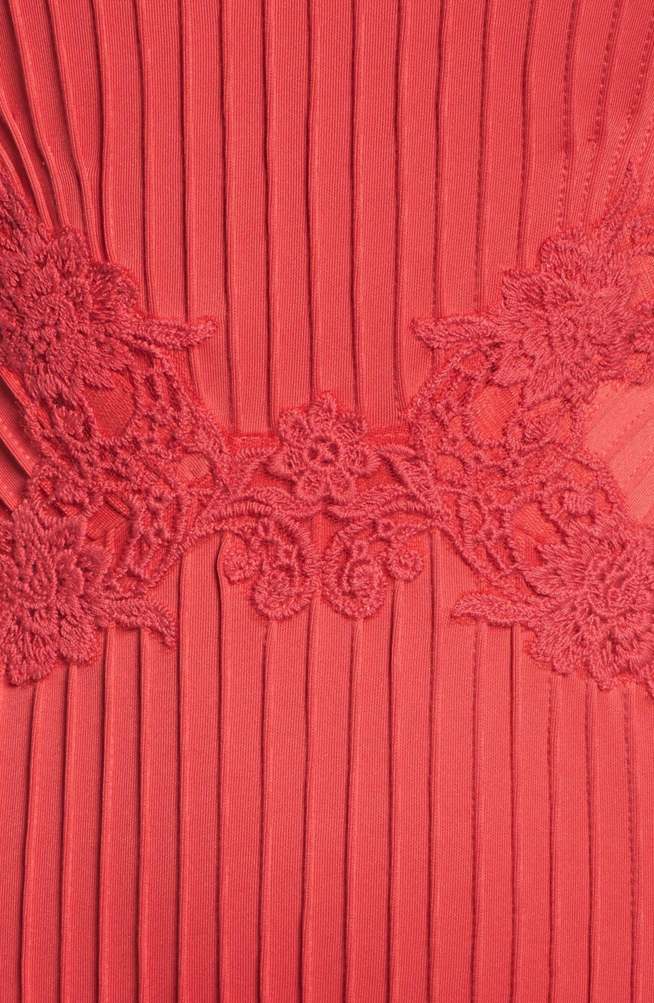 Crochet Trim Pintucked Sheath Dress,                             Alternate thumbnail 5, color,                             Pop Red