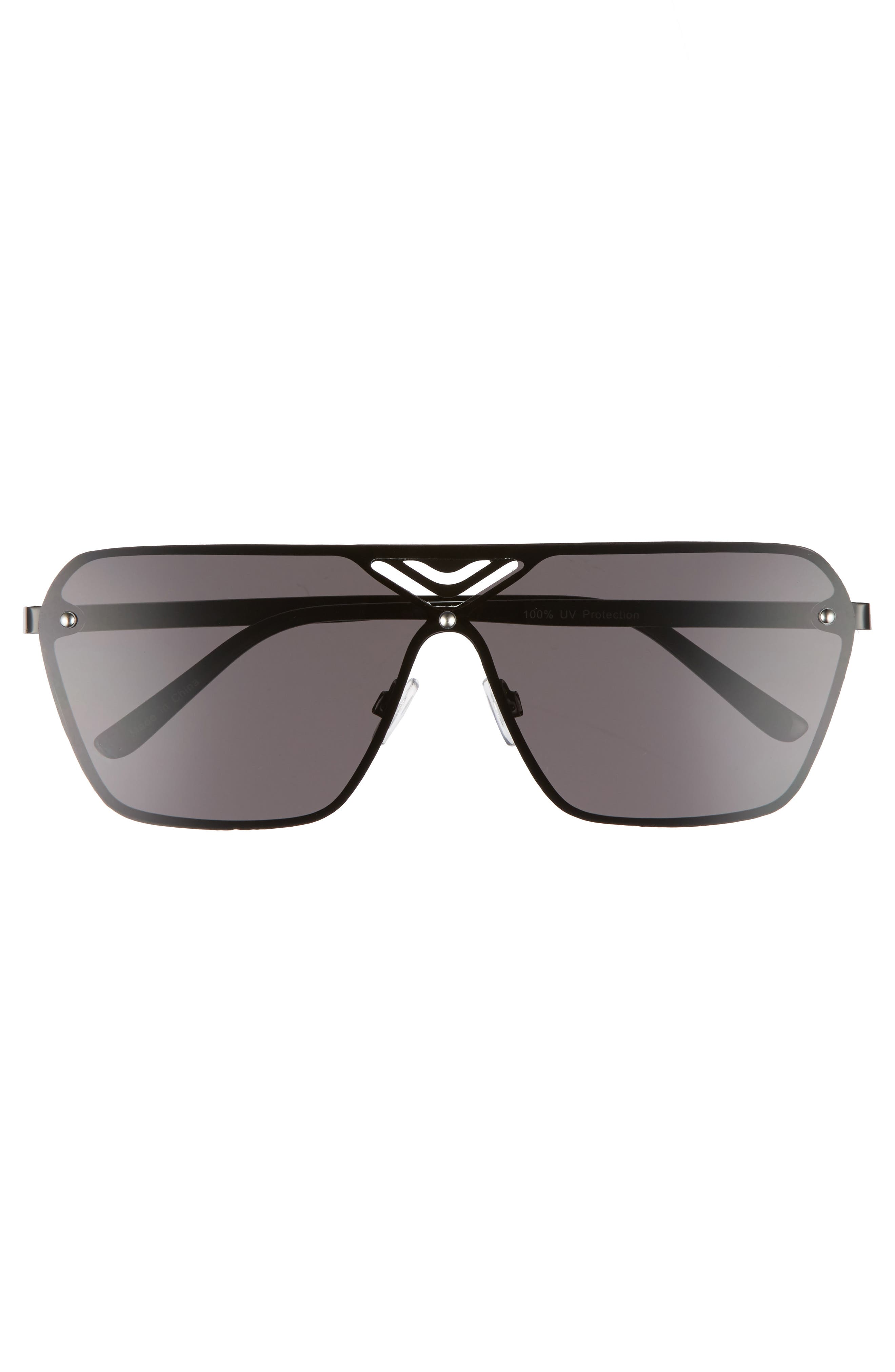 70mm Cutout Shield Sunglasses,                             Alternate thumbnail 3, color,                             Black