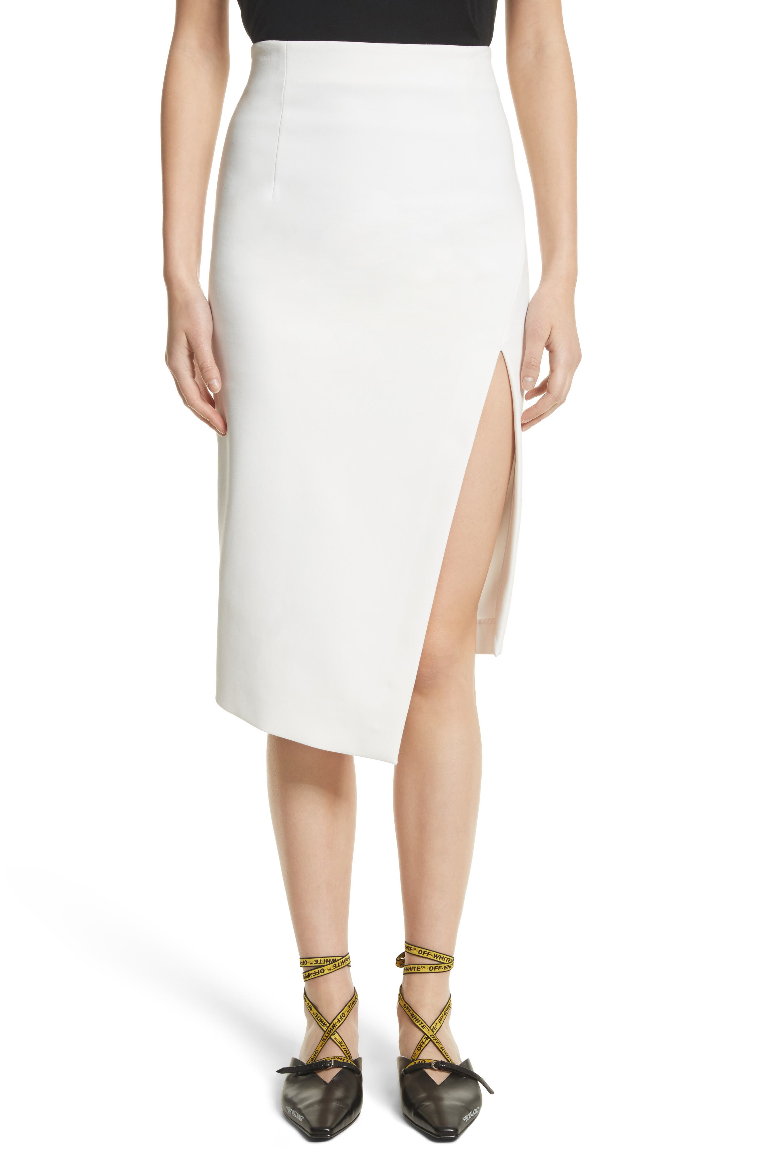 Off-White Front Slit Longette Skirt