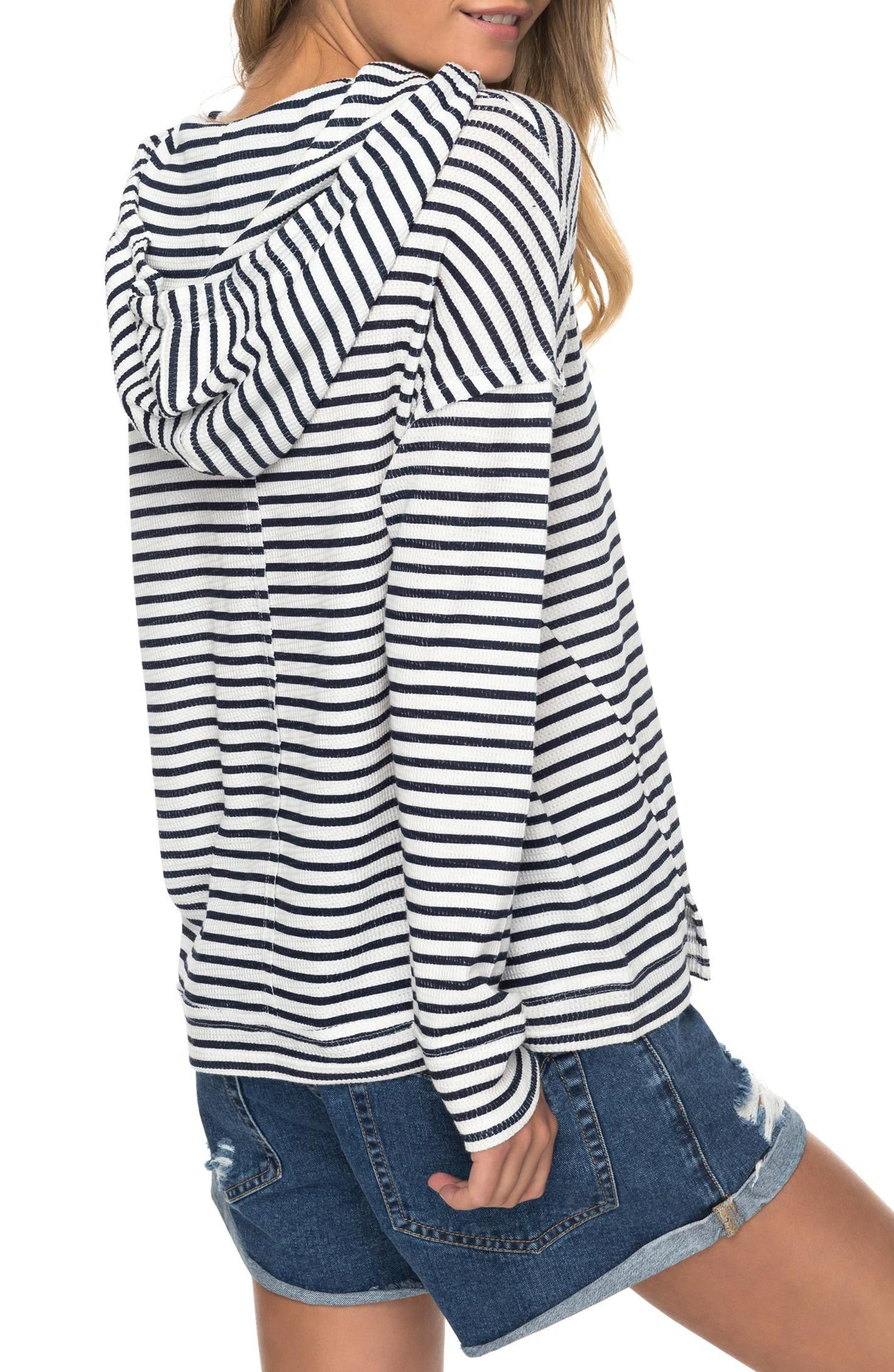 Wanted and Wild Thermal Hooded Top,                             Alternate thumbnail 3, color,                             Marshmallow Classic Stripe Vol