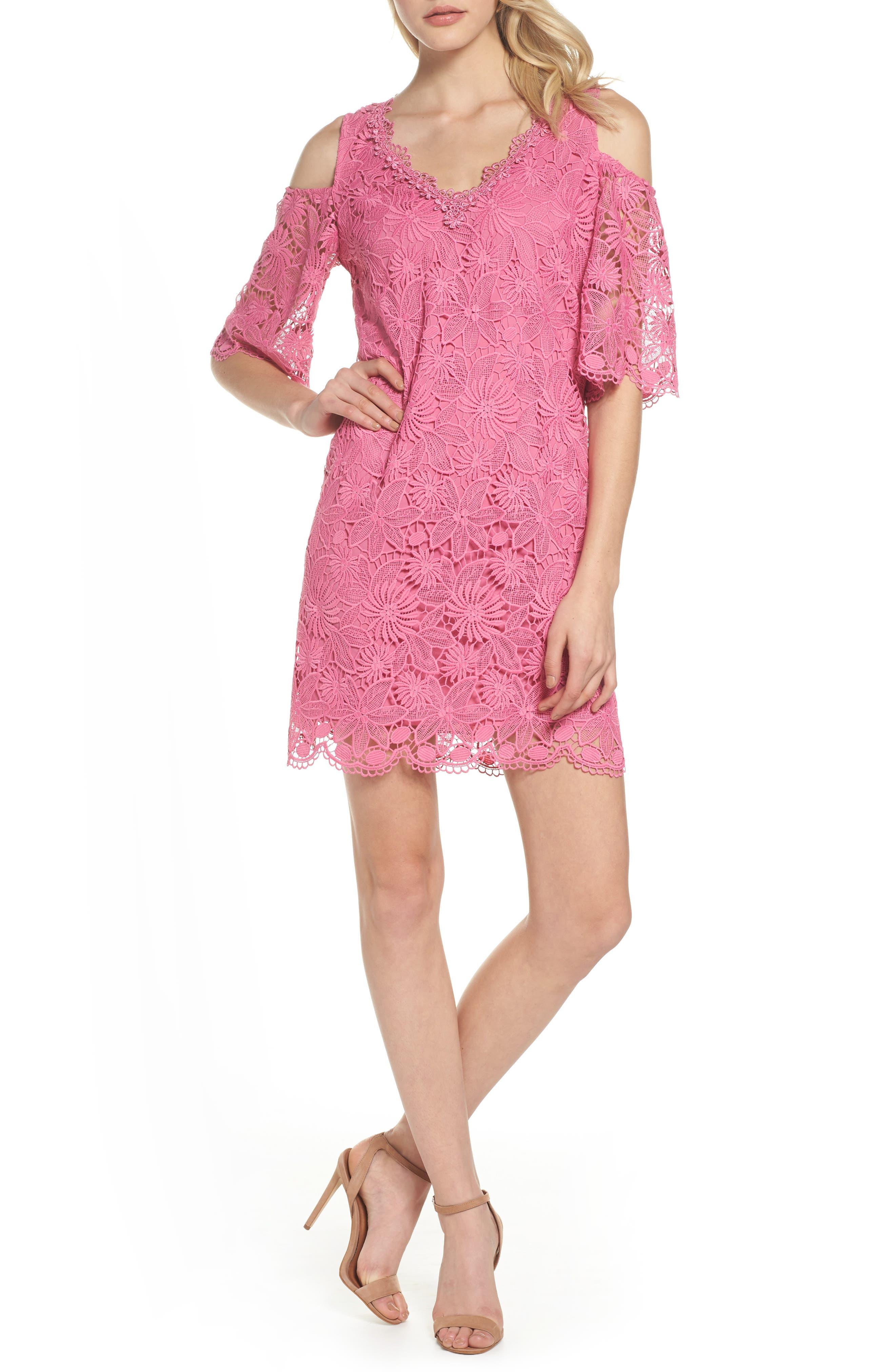 Edna Cold Shoulder Lace Dress,                             Main thumbnail 1, color,                             Tulip