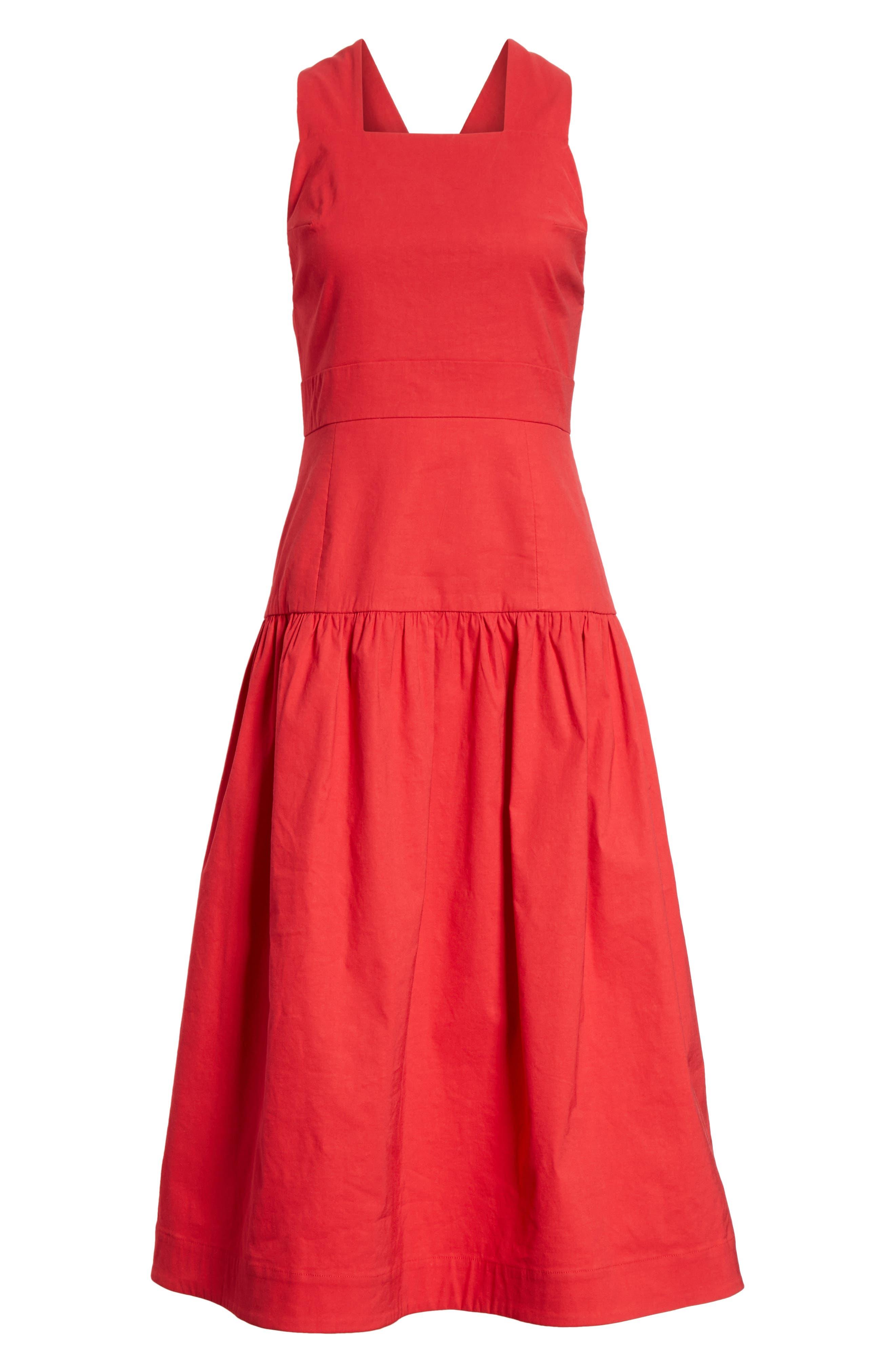 Cecily Cotton & Linen Blend Midi Dress,                             Alternate thumbnail 6, color,                             Red