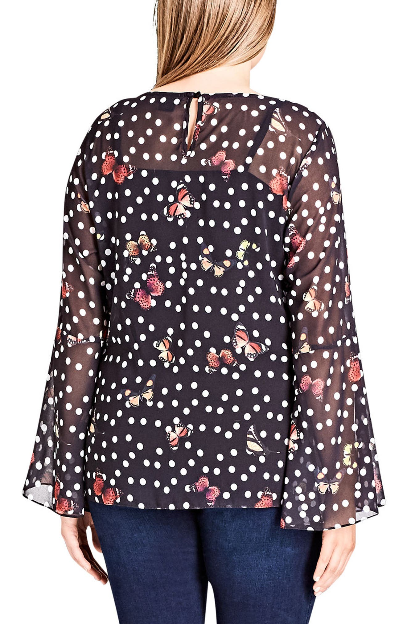 Alternate Image 2  - City Chic Butterfly Bliss Top (Plus Size)