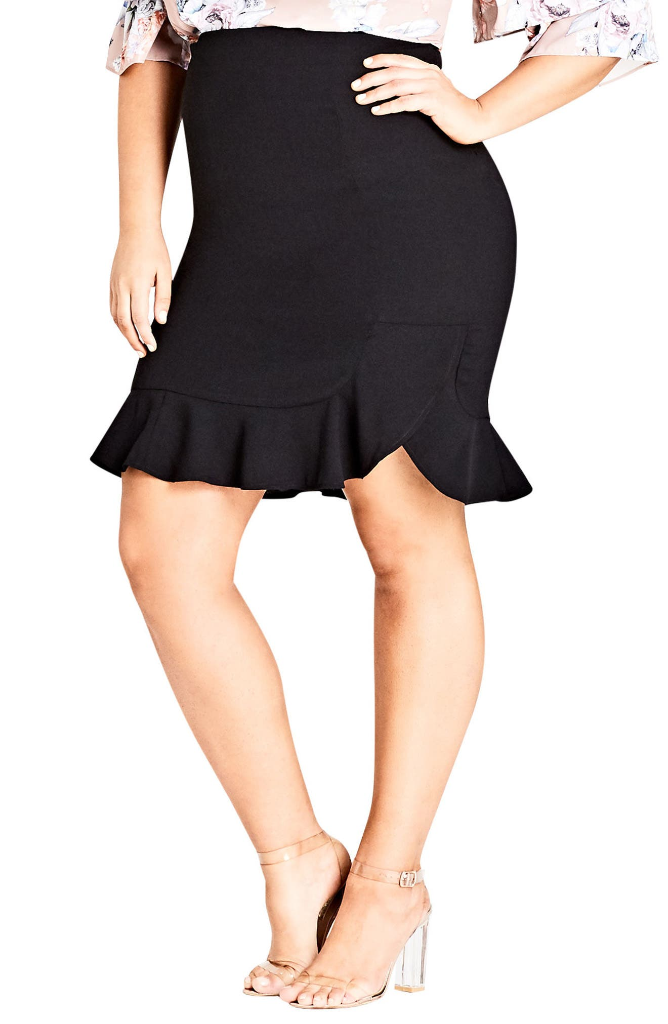 Pencil Flute Skirt,                             Main thumbnail 1, color,                             Black