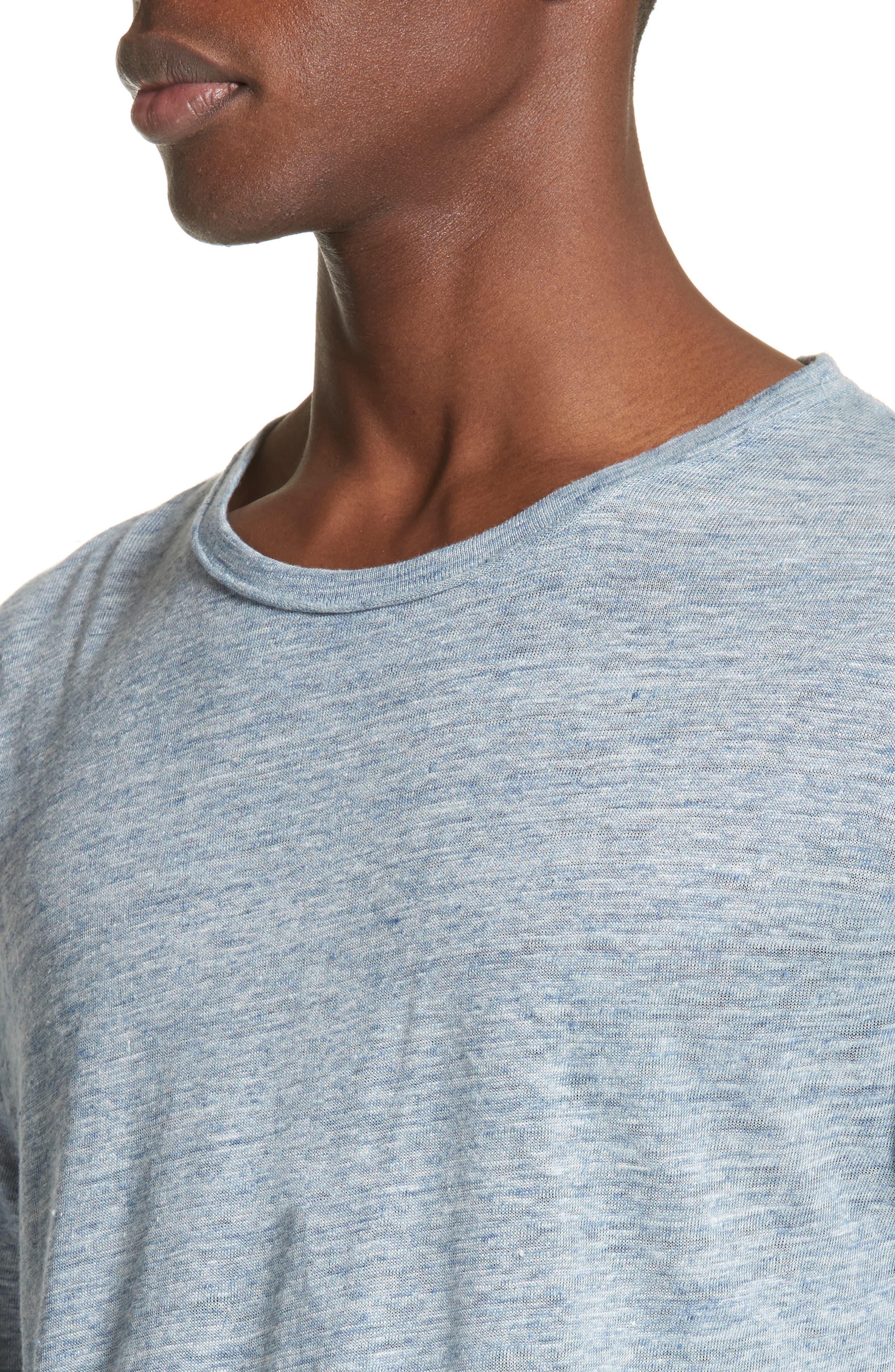 Owen Linen Long Sleeve T-Shirt,                             Alternate thumbnail 4, color,                             Blue