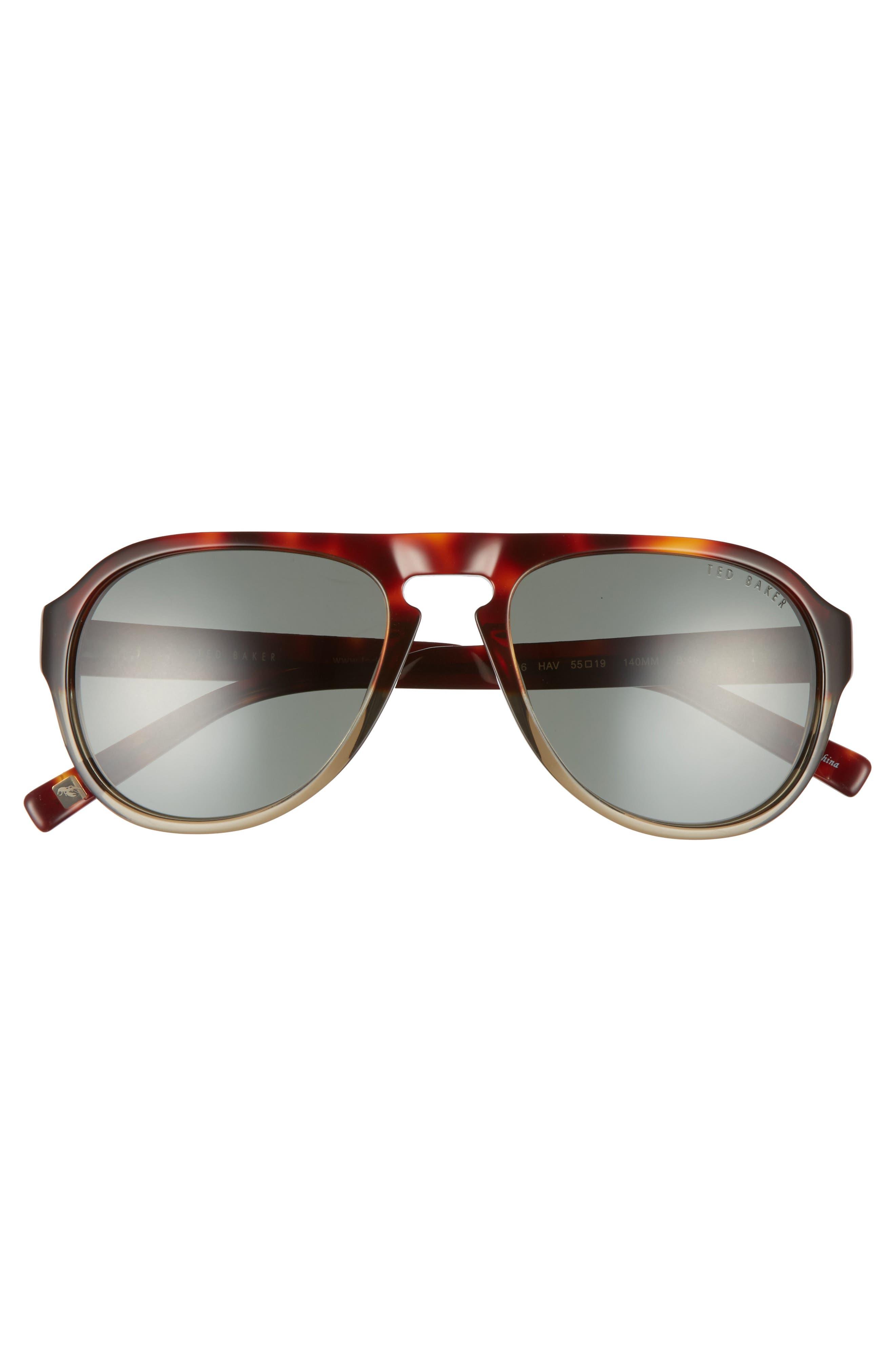 55mm Polarized Aviator Sunglasses,                             Alternate thumbnail 2, color,                             Tortoise Havana
